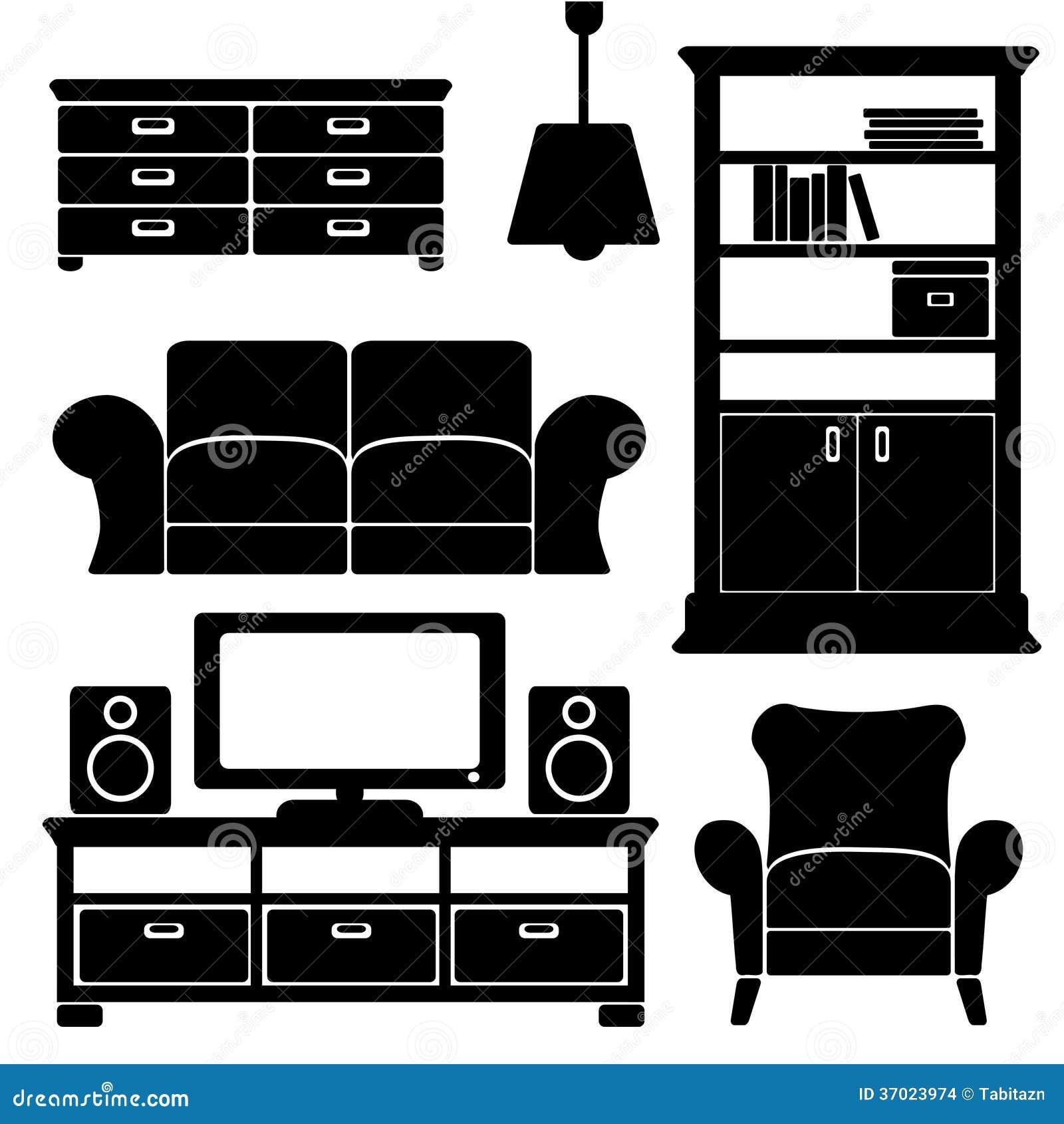Los iconos de los muebles de la sala de estar fijaron las for Ejemplos de muebles ergonomicos