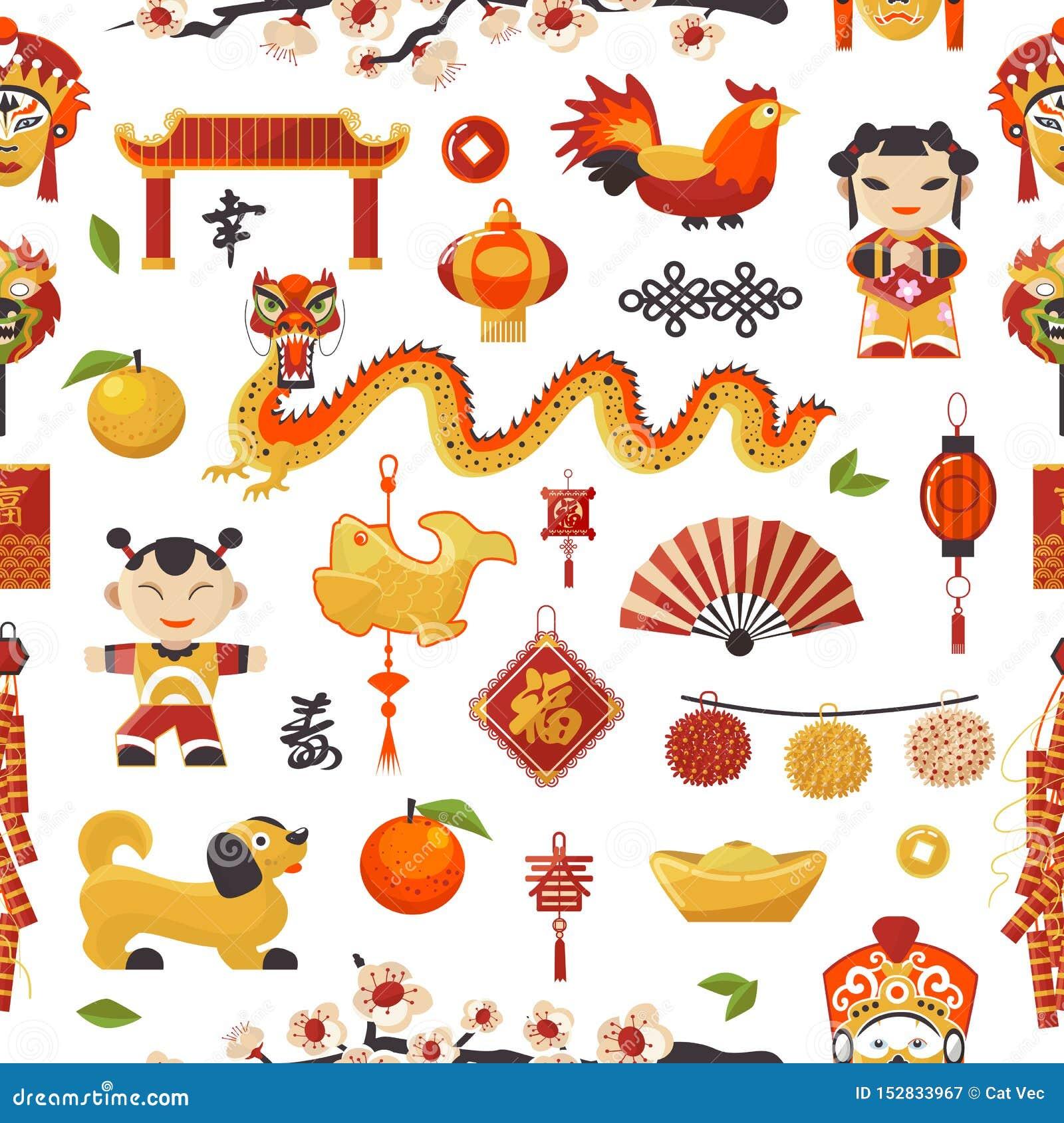 Los iconos del Año Nuevo de China fijaron día de fiesta decorativo Símbolos tradicionales chinos y dragón de los objetos, perro,
