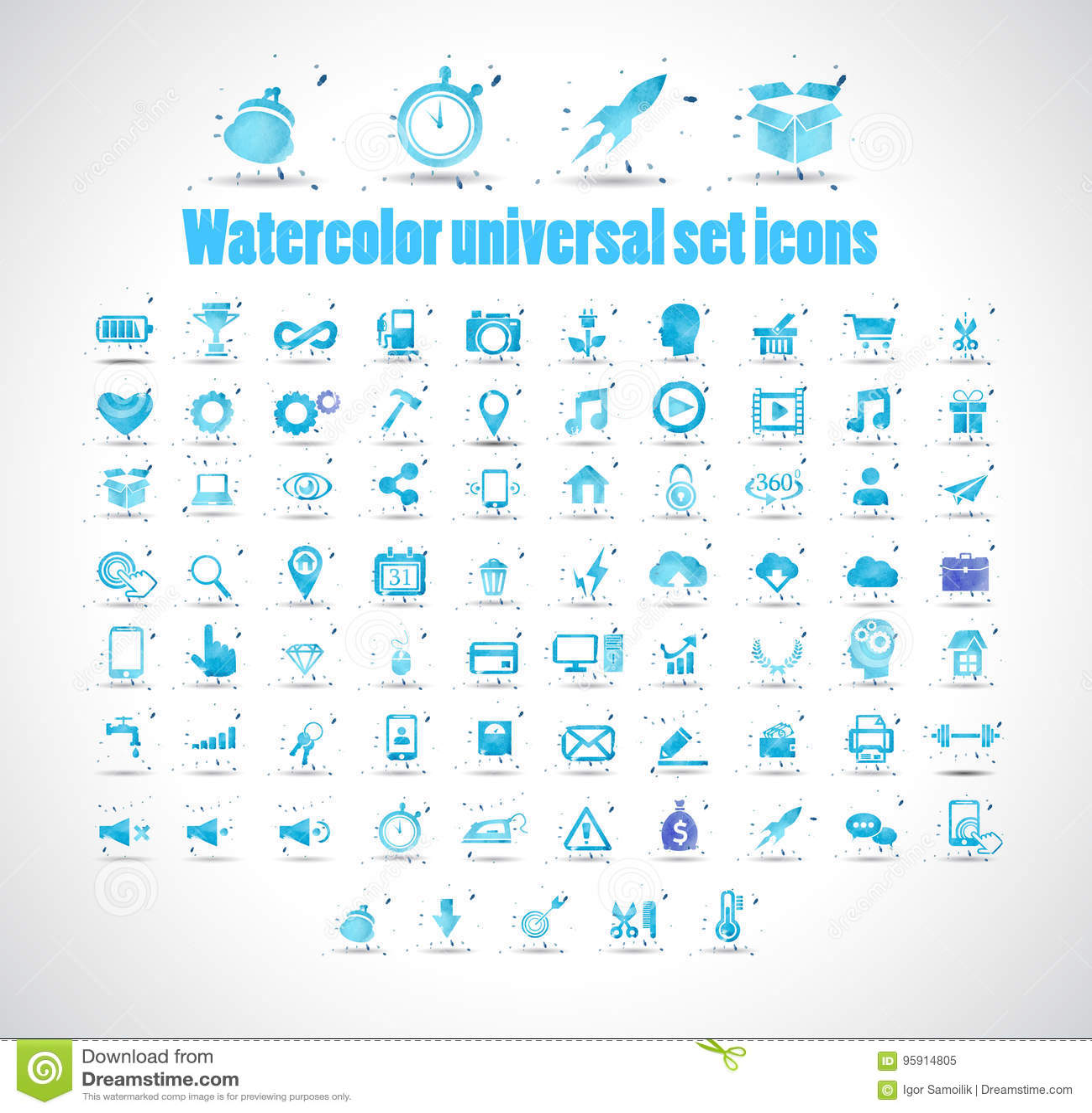 Los iconos del sistema universal de la acuarela en el fondo blanco vector el ejemplo