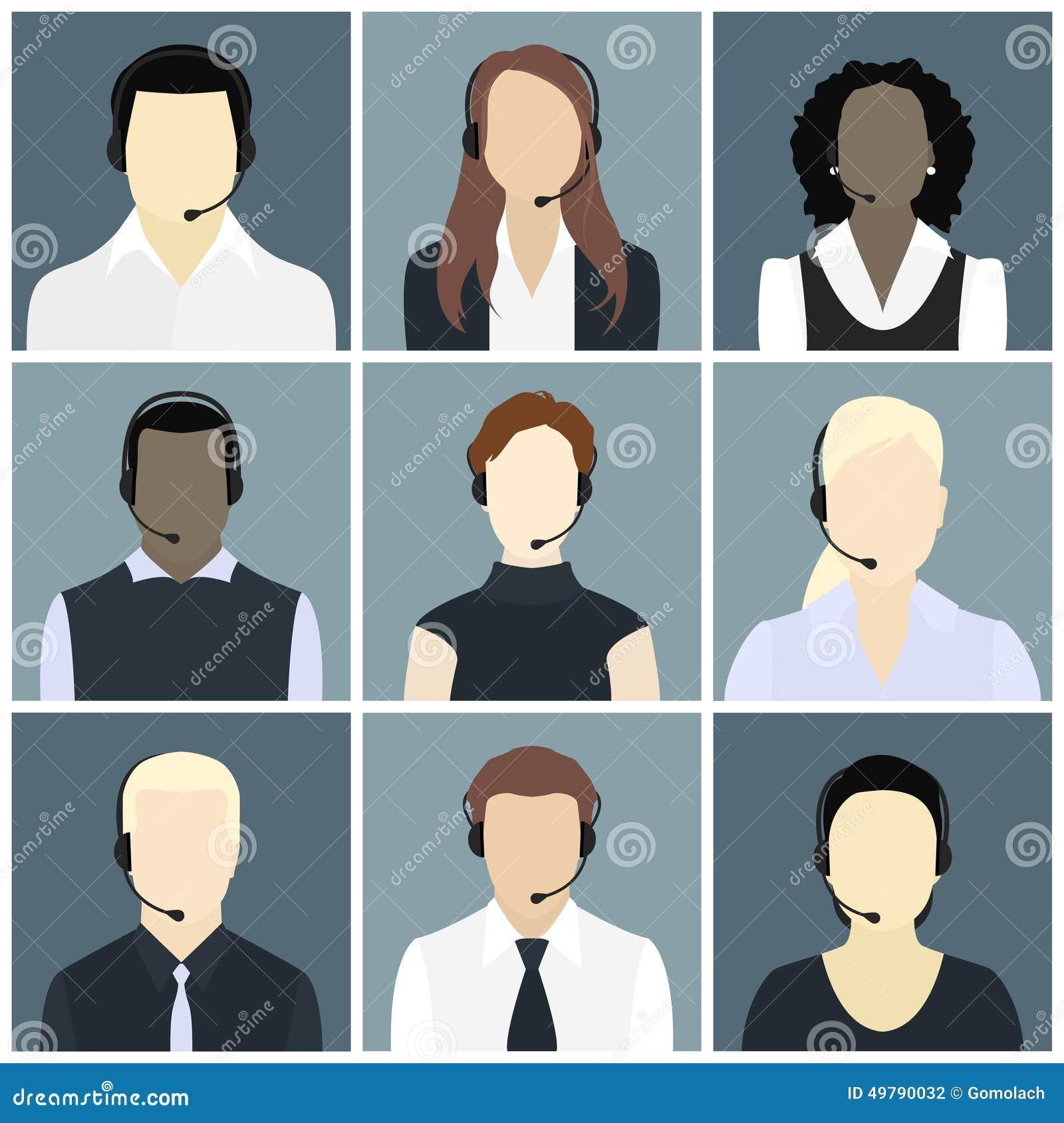 Los iconos del vector fijaron a avatares del centro de atención telefónica en un estilo plano