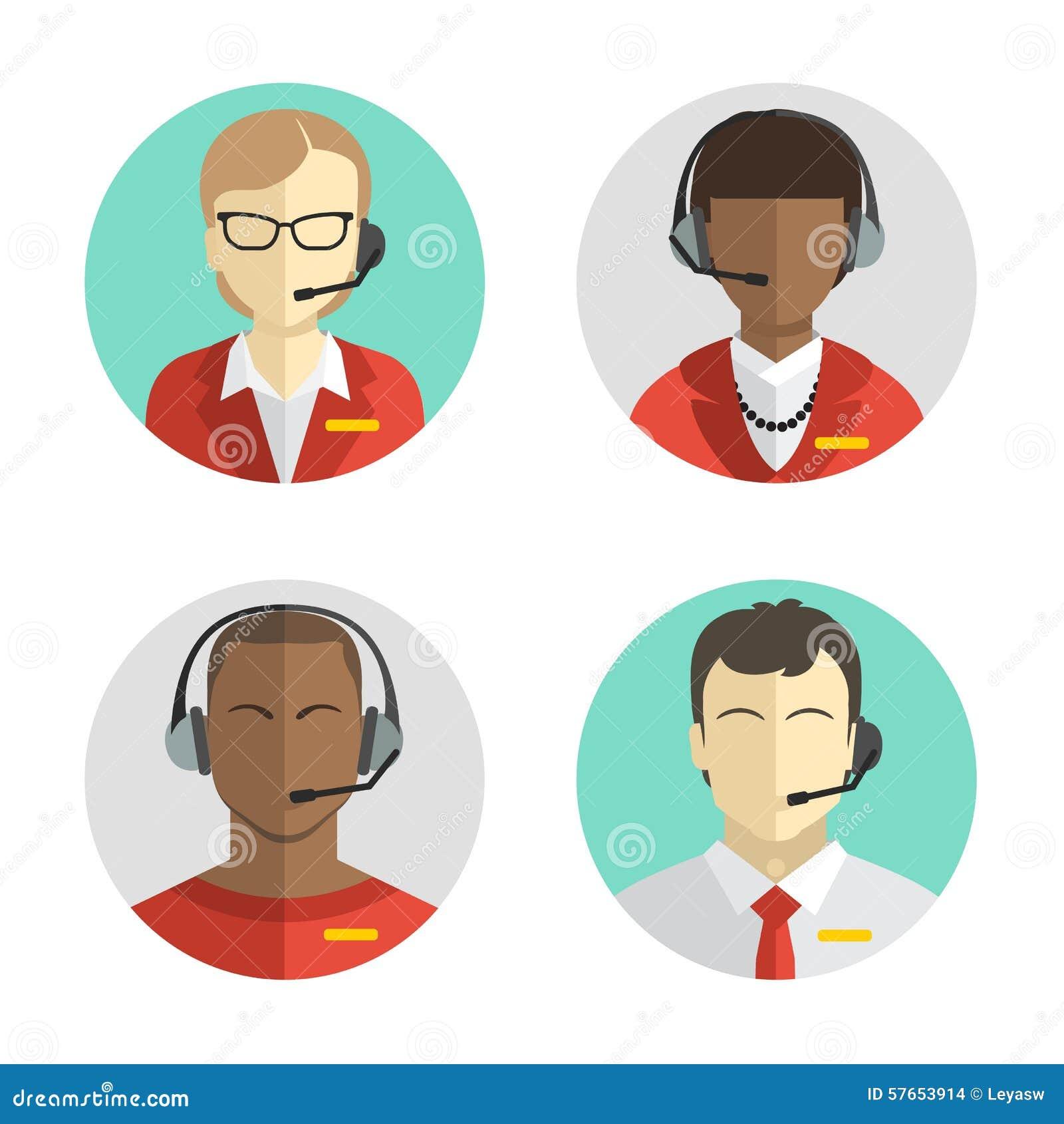Los iconos fijaron a los avatares masculinos y femeninos del centro de atención telefónica en un estilo plano con auriculares, co