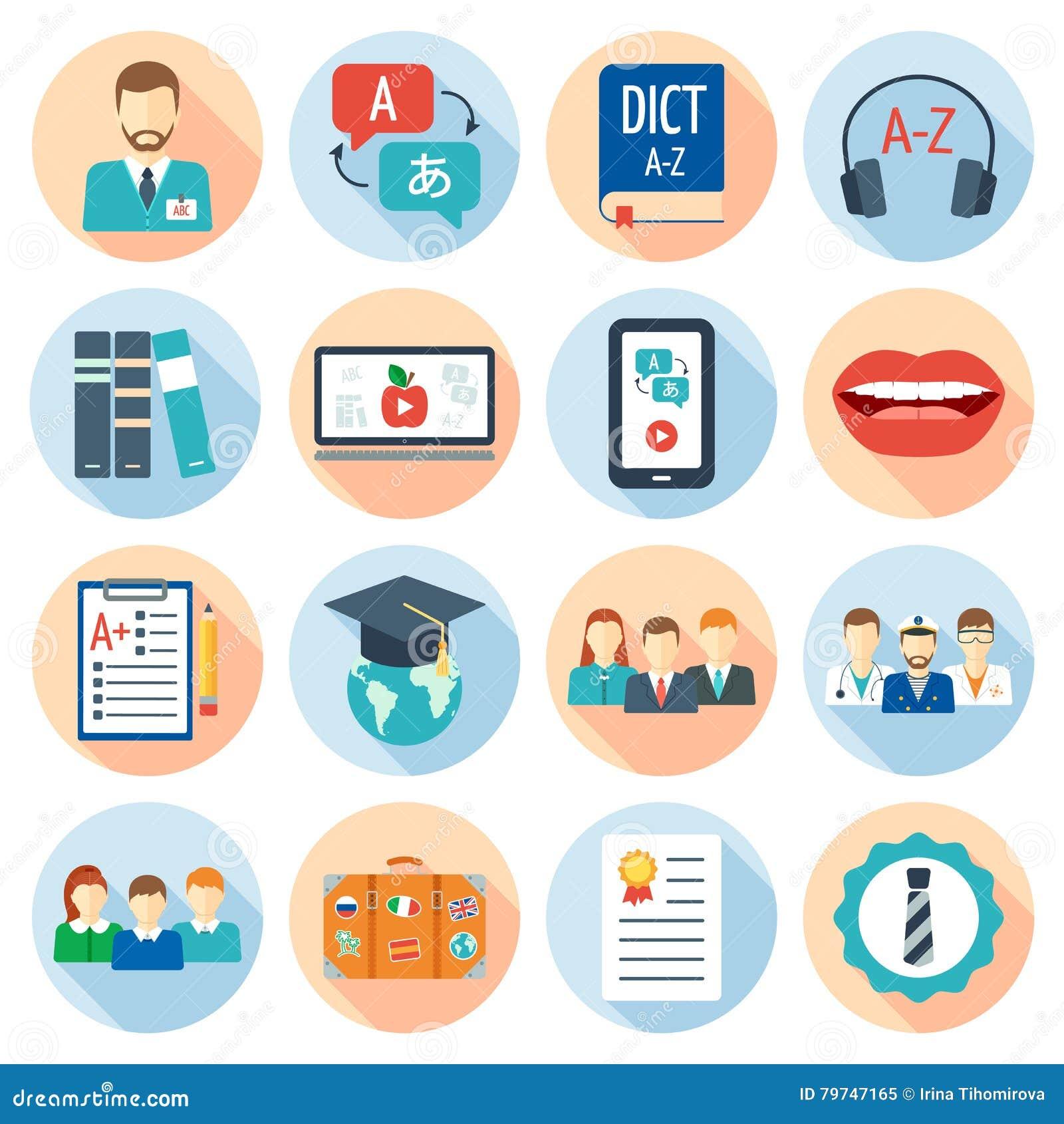 Los iconos fijaron para los cursos y las escuelas del idioma extranjero Diseño plano Vector