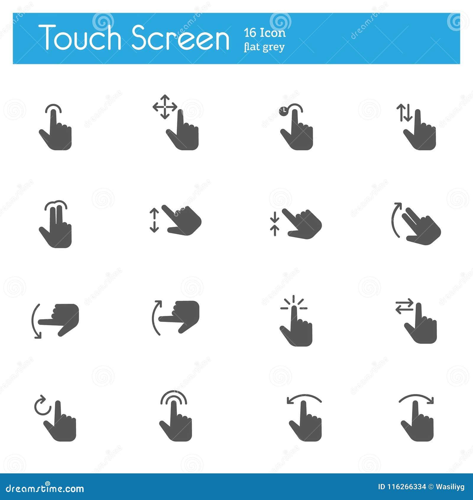 Los iconos grises planos de los gestos del tacto fijaron de 16