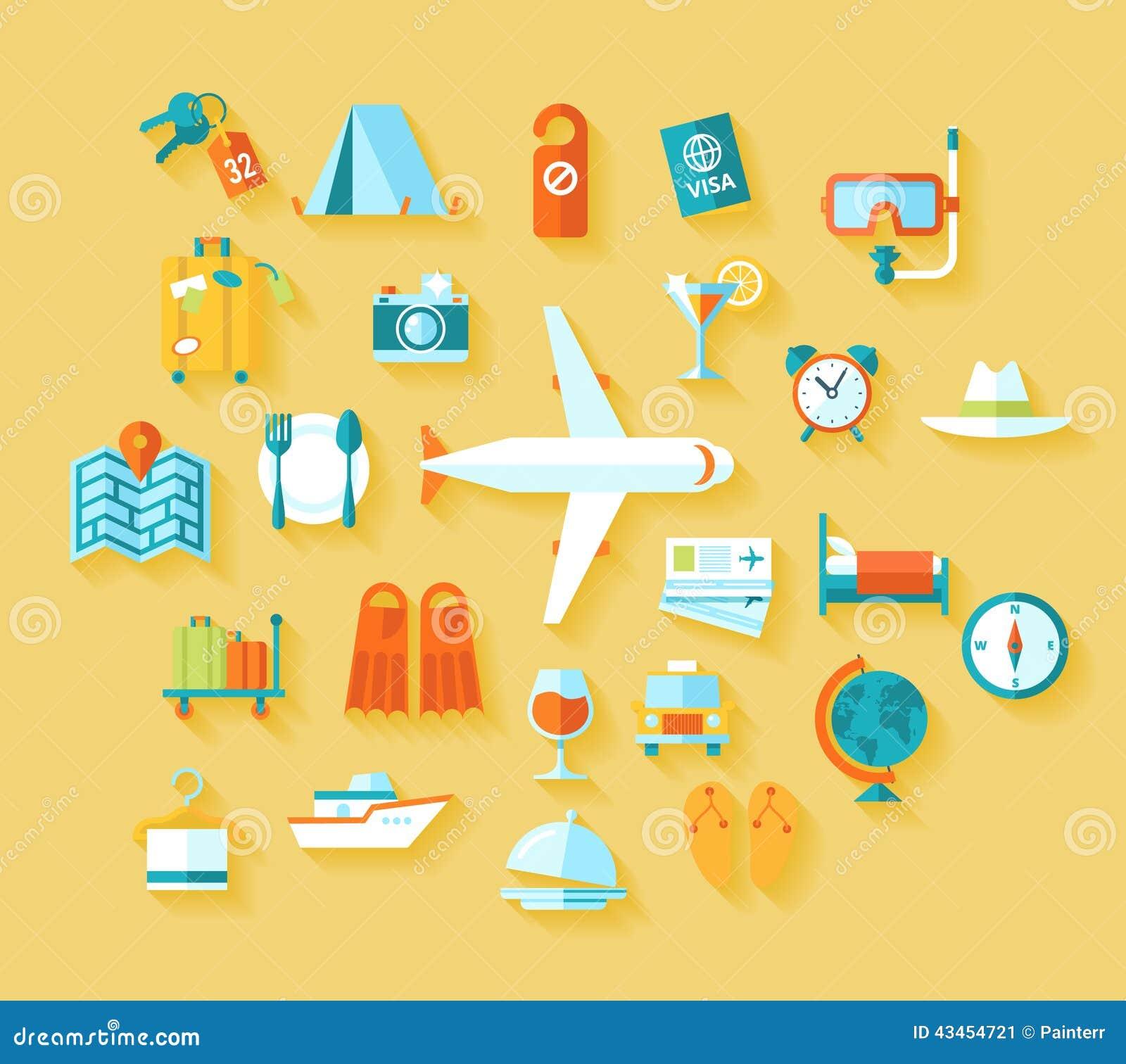 Los iconos modernos del ejemplo del estilo plano del diseño fijaron de viajar en el aeroplano, planeando vacaciones de verano, tu