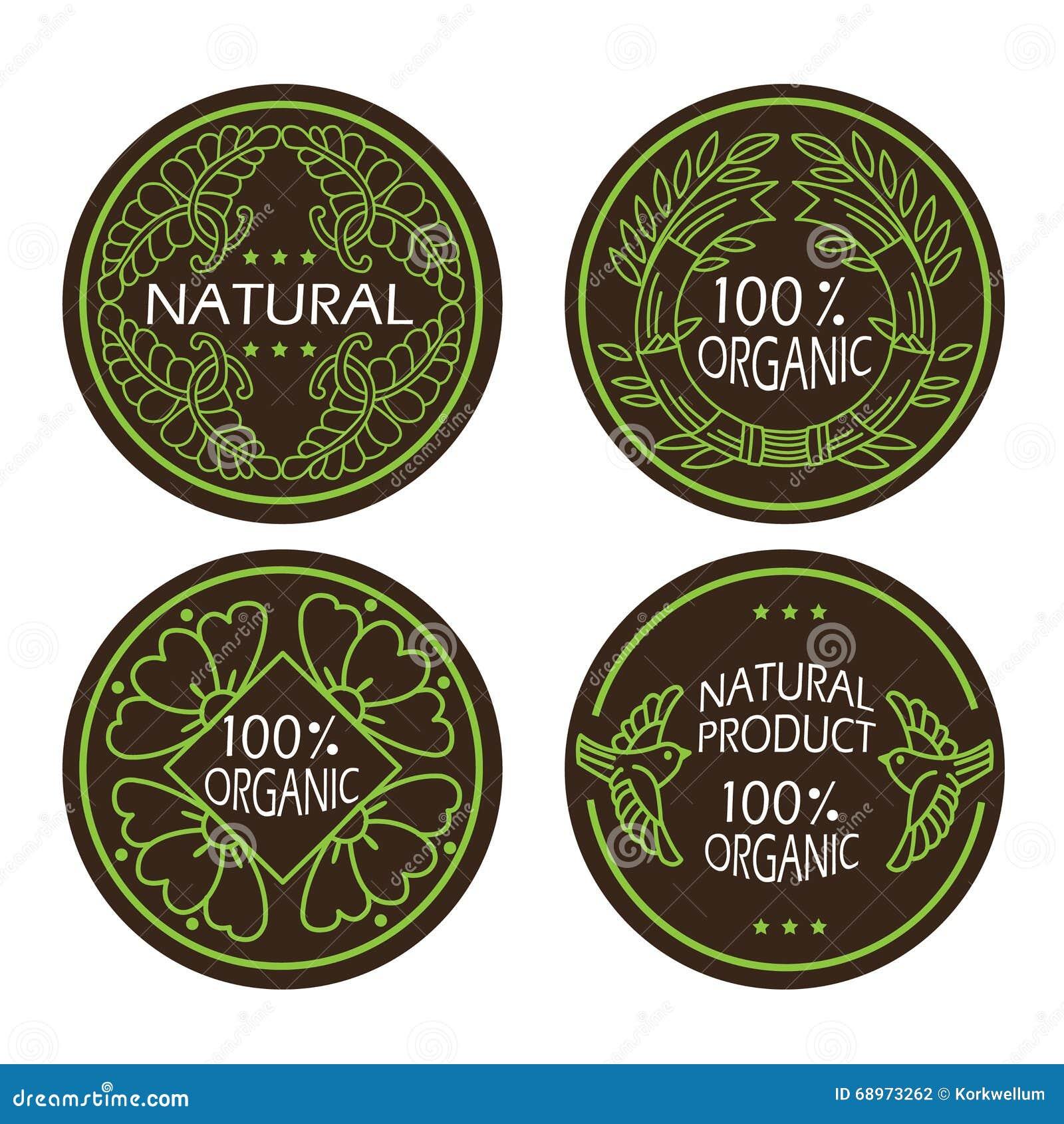 Los iconos naturales y del eco orgánicos fijaron con el producto natural del texto