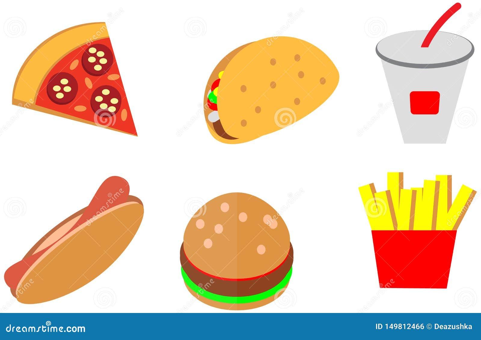 Los iconos planos de los alimentos de preparación rápida del color del garabato de la historieta diseñan el menú del café