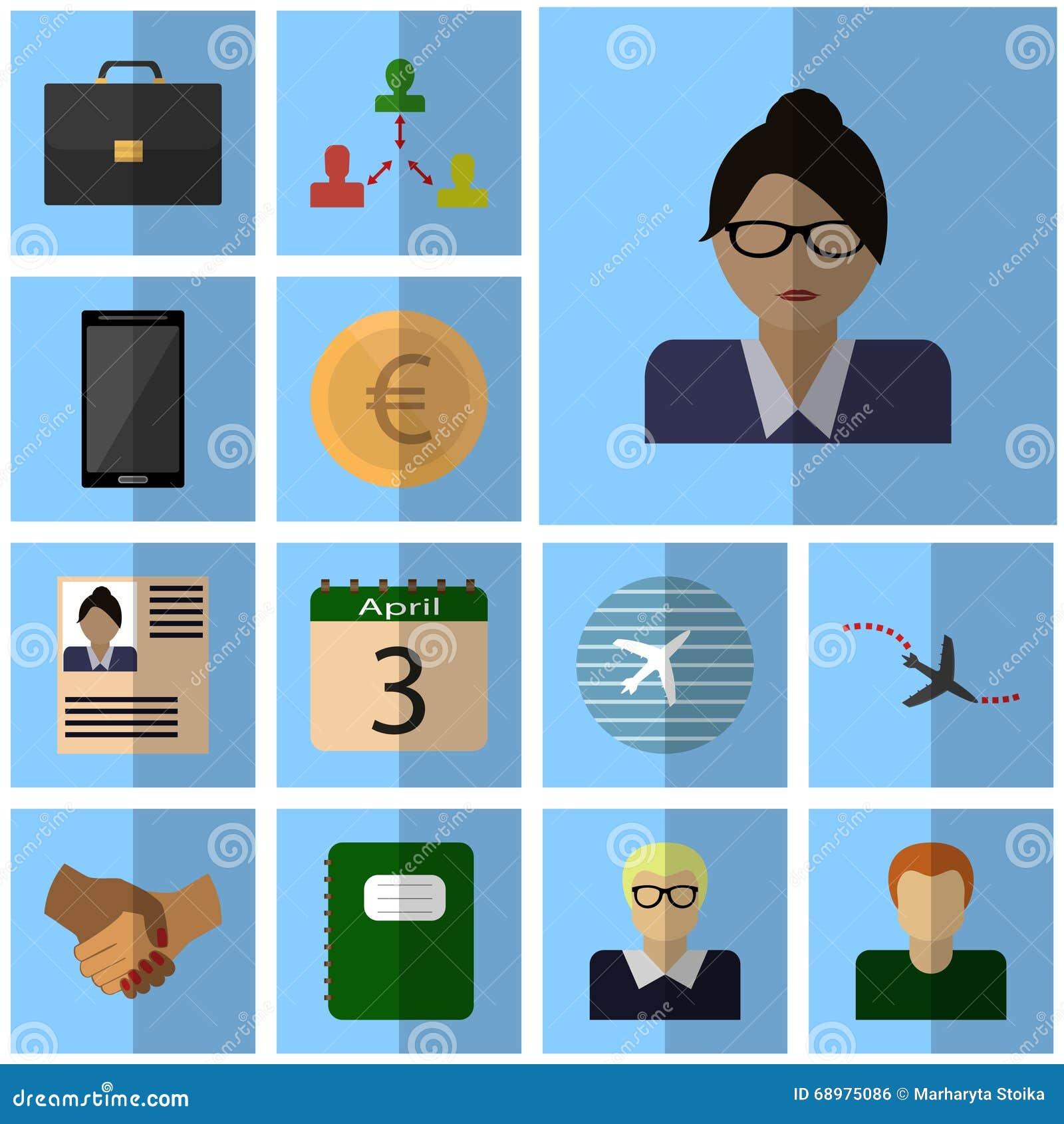 Los iconos planos de los ingresos de los iconos de los ingresos de los iconos del vector fijaron a la empresaria del icono de los