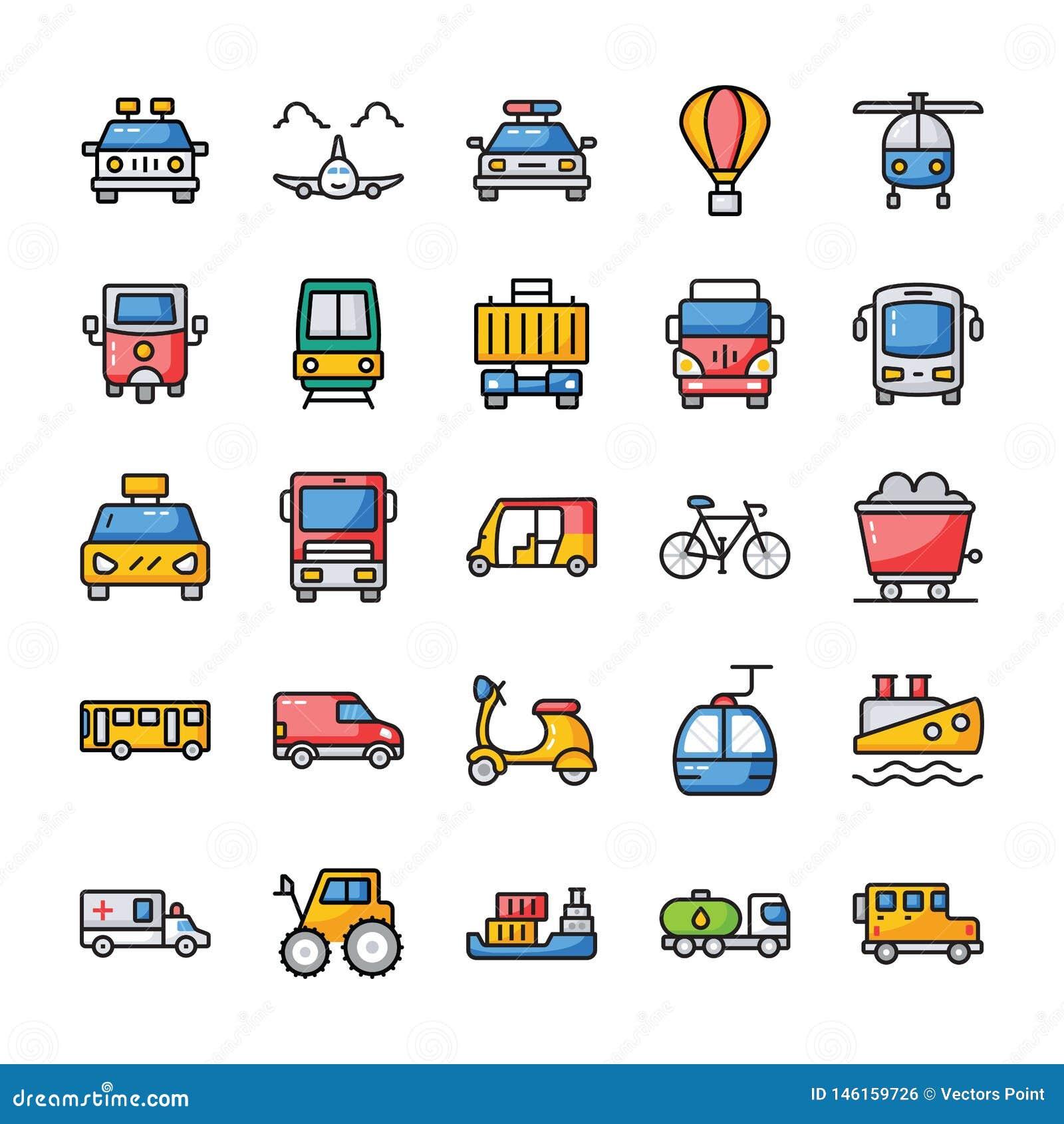 Los iconos planos del transporte embalan