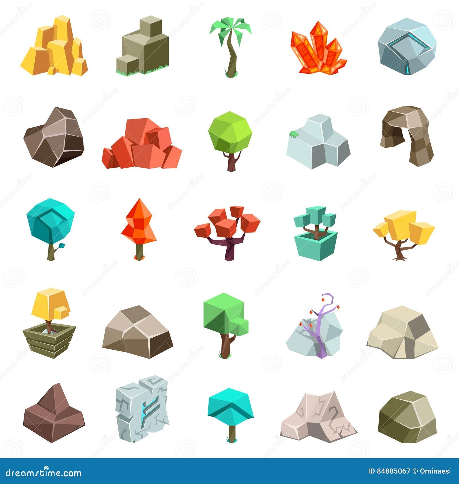 Los iconos planos isométricos del estilo 3d de la historieta cristal de la runa de la cueva del canto rodado de la piedra de la r