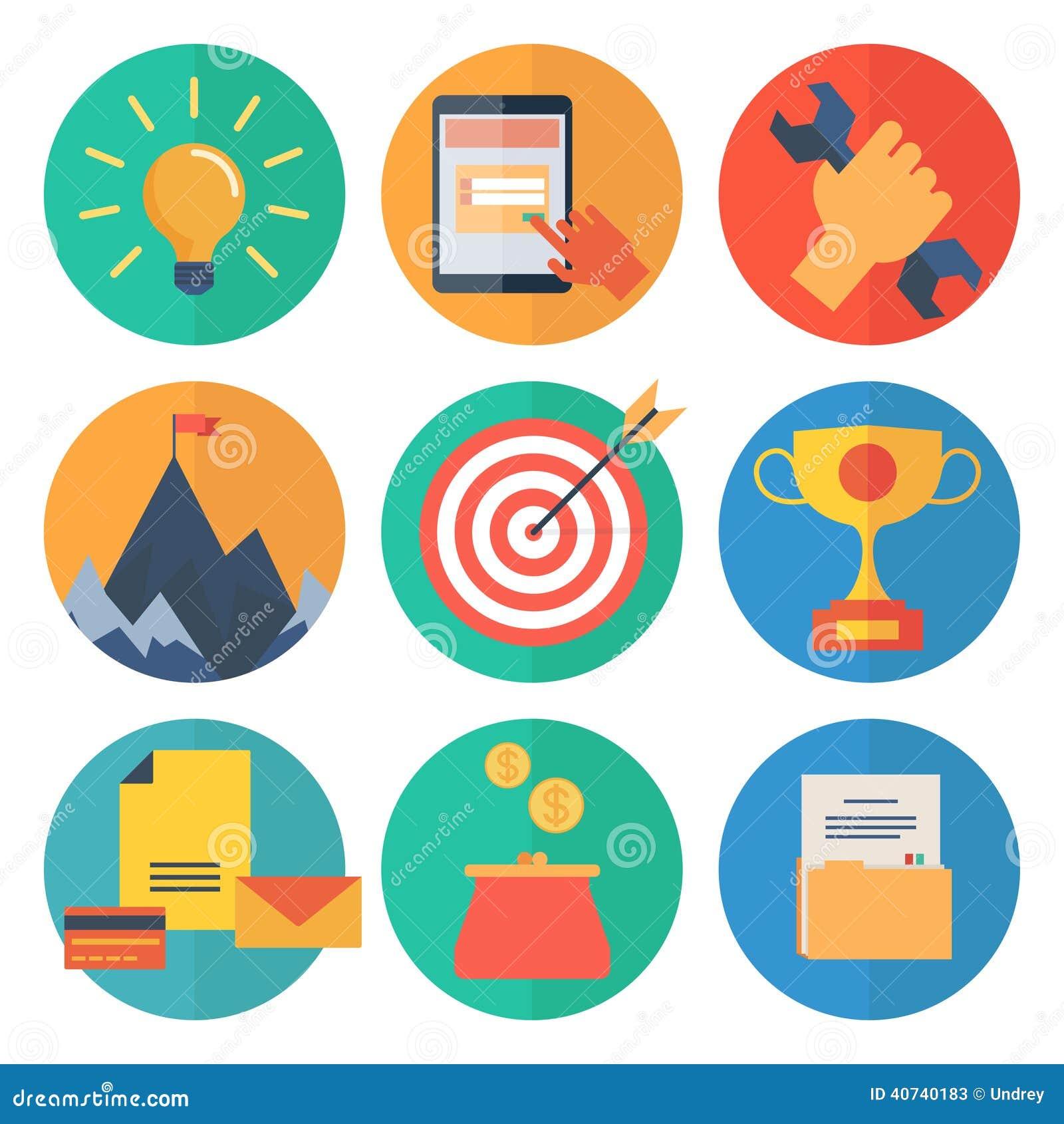 Los iconos planos modernos vector la colección, objetos del diseño web, negocio, la oficina y artículos del márketing