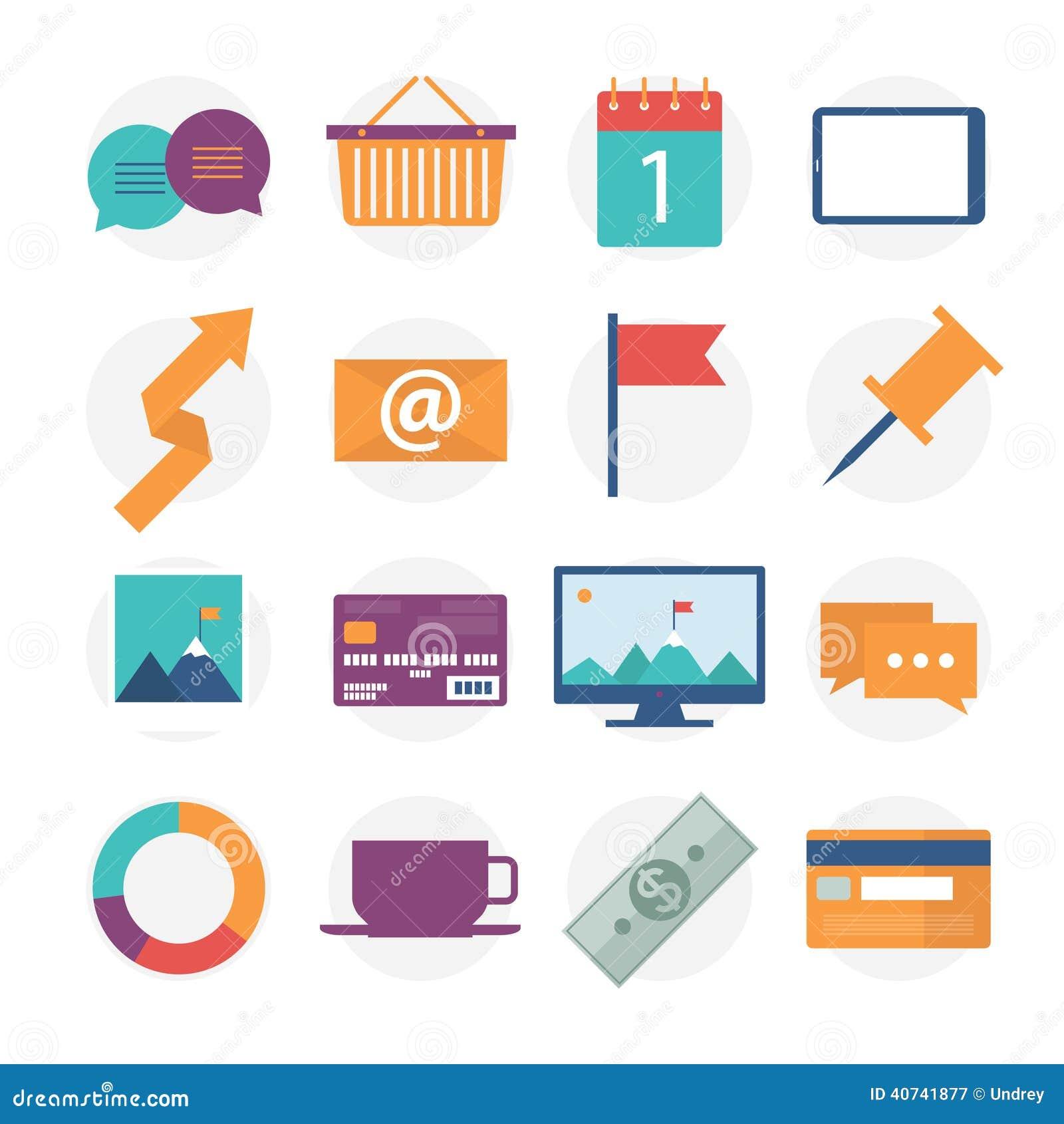 Los iconos planos modernos vector la colecci n objetos for Articulos decorativos para oficina