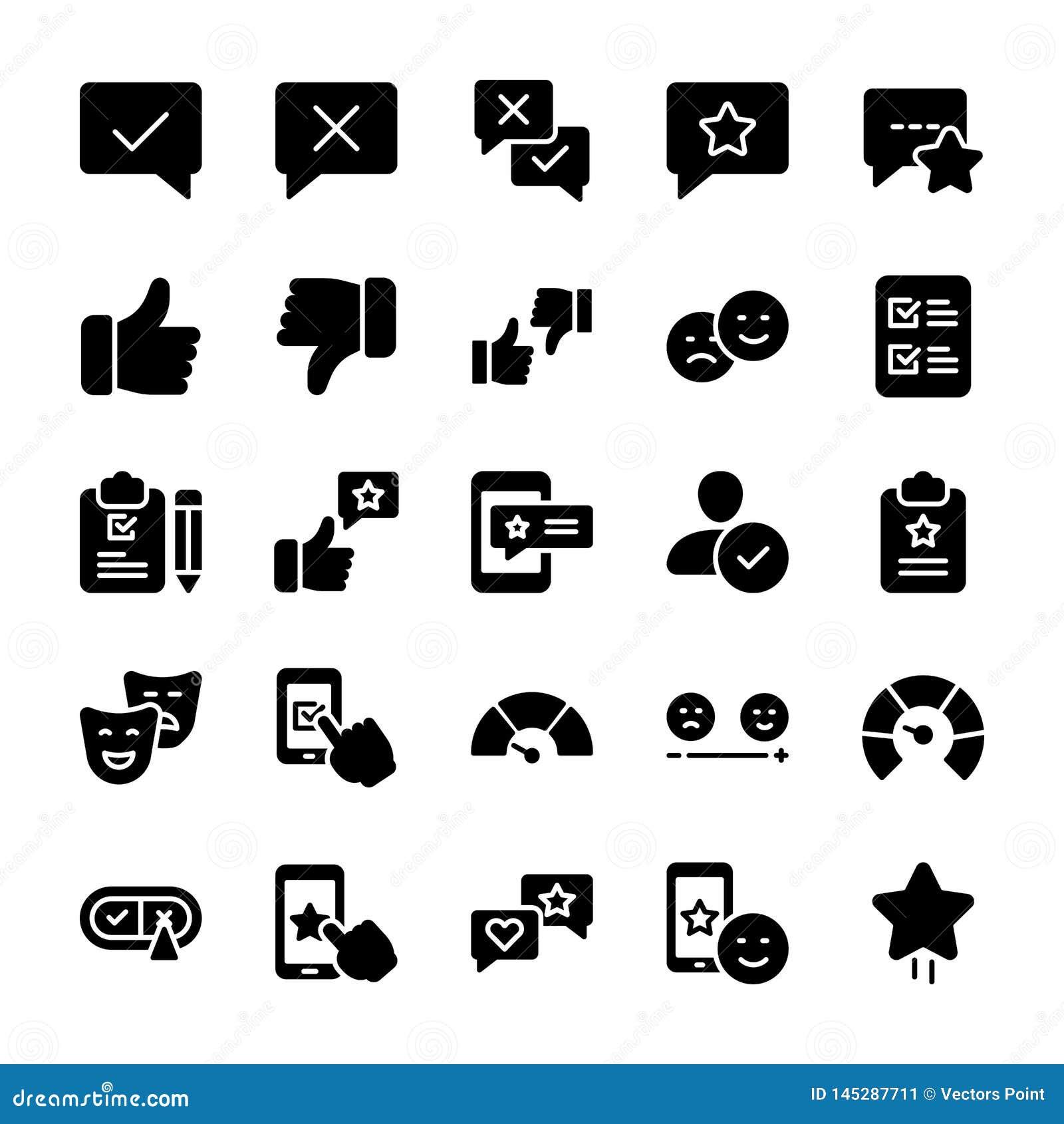 Los iconos sólidos emocionales de la opinión y de la lista de control embalan