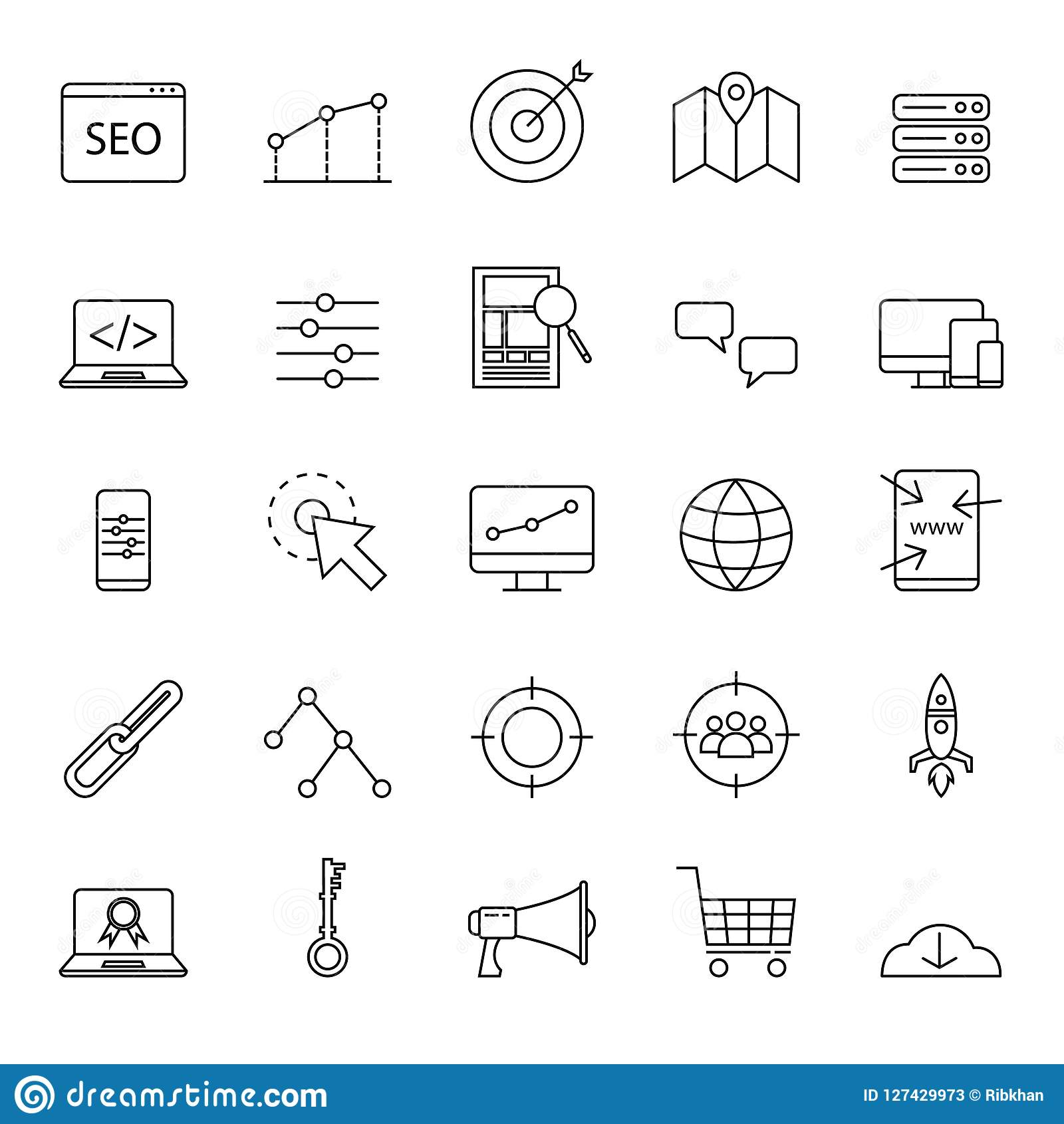Los iconos simples del seo fijaron para el sitio web o el elemento básico con el esquema o la línea estilo