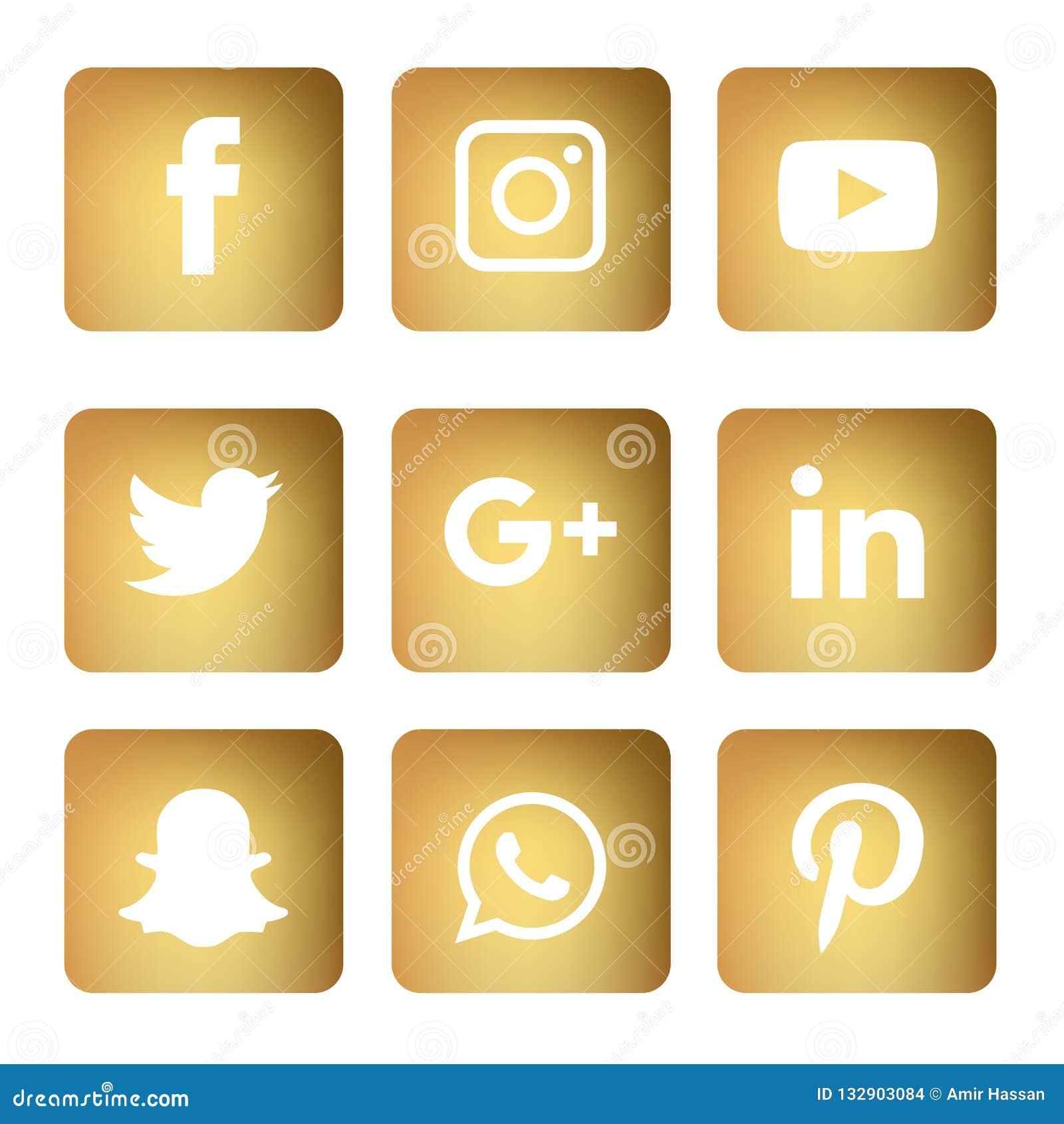 Los Iconos Sociales De Los Medios Fijaron A Logo Vector Illustrator