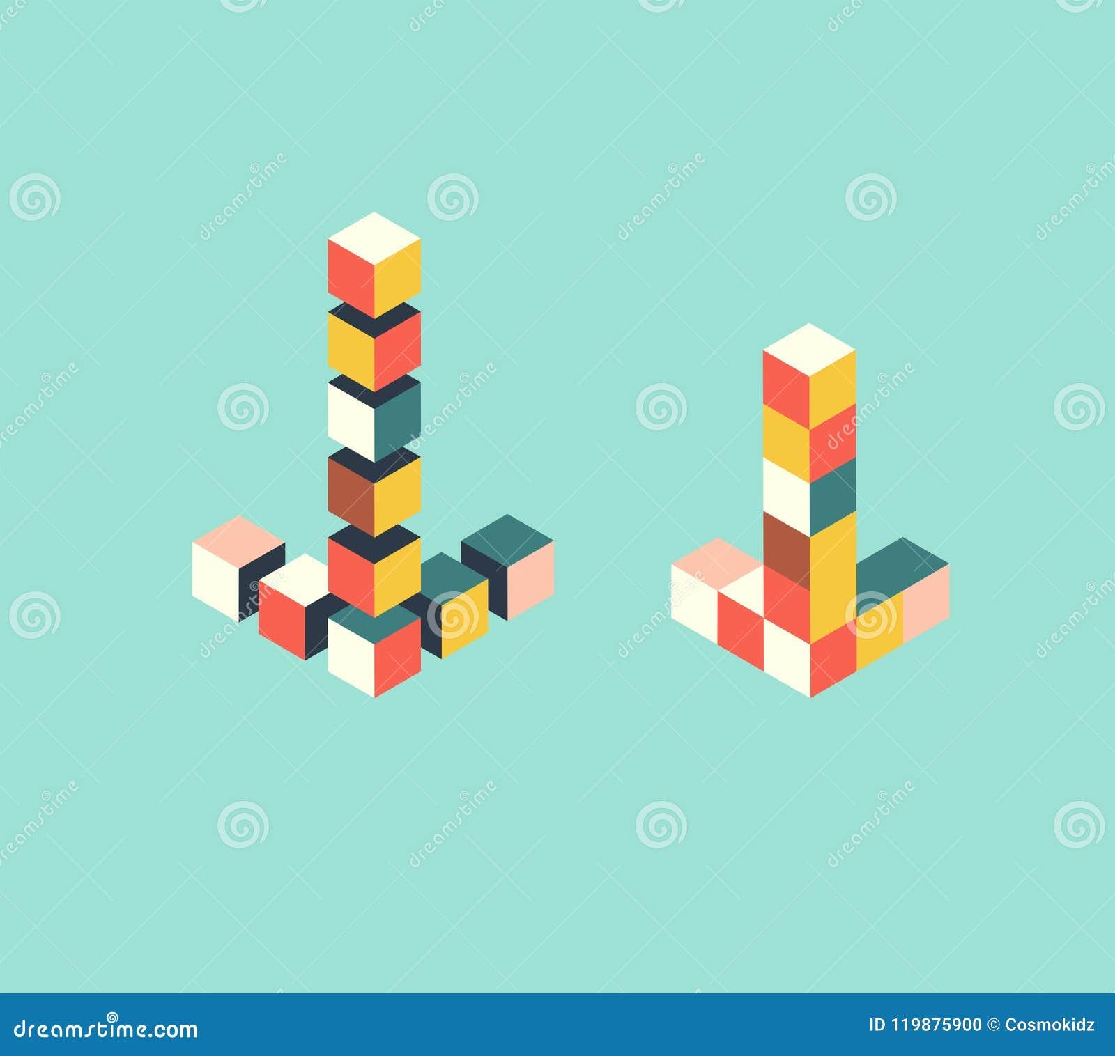 Los indicadores de flecha isométricos, rompecabezas del juguete, marca de cursor cubican la forma, ejemplo del vector
