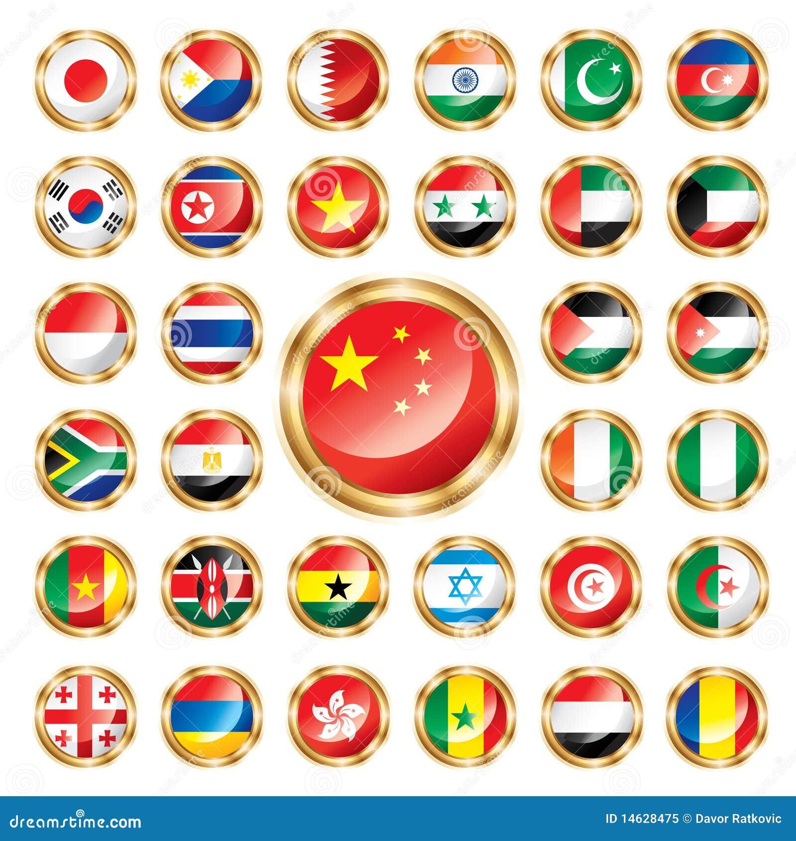 Los indicadores del botón fijaron Asia y África