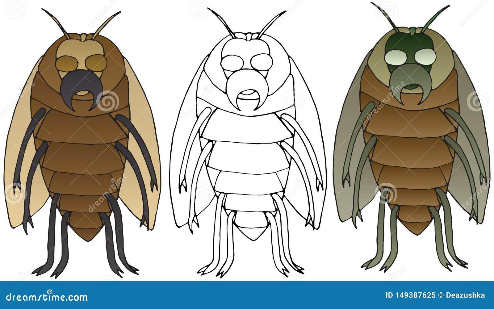 Los insectos de la historieta del monstruo garabatean la mano del color dibujada para fijar arte asustadizo
