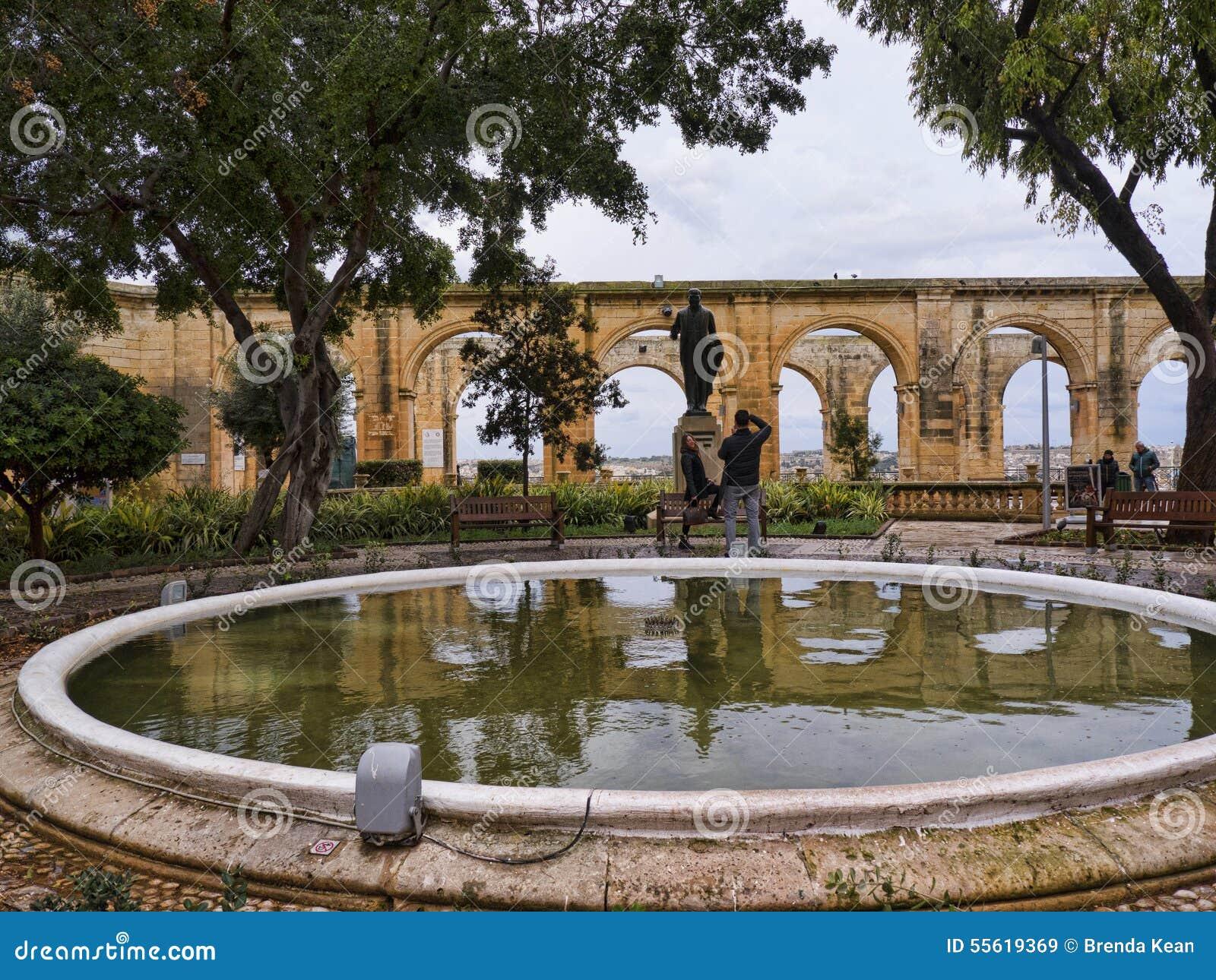 Los jardines superiores de Barrakka en La Valeta Malta