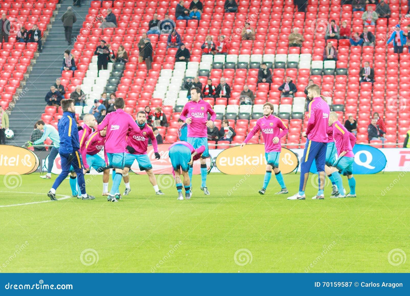 Los jugadores del FC Barcelona momentos antes del partido