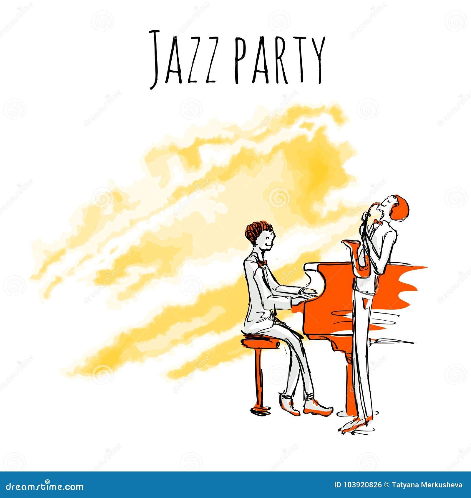 Los músicos de jazz juegan el saxofón y el piano en un fondo del watrecolor Plantilla del cartel del partido del jazz del vector
