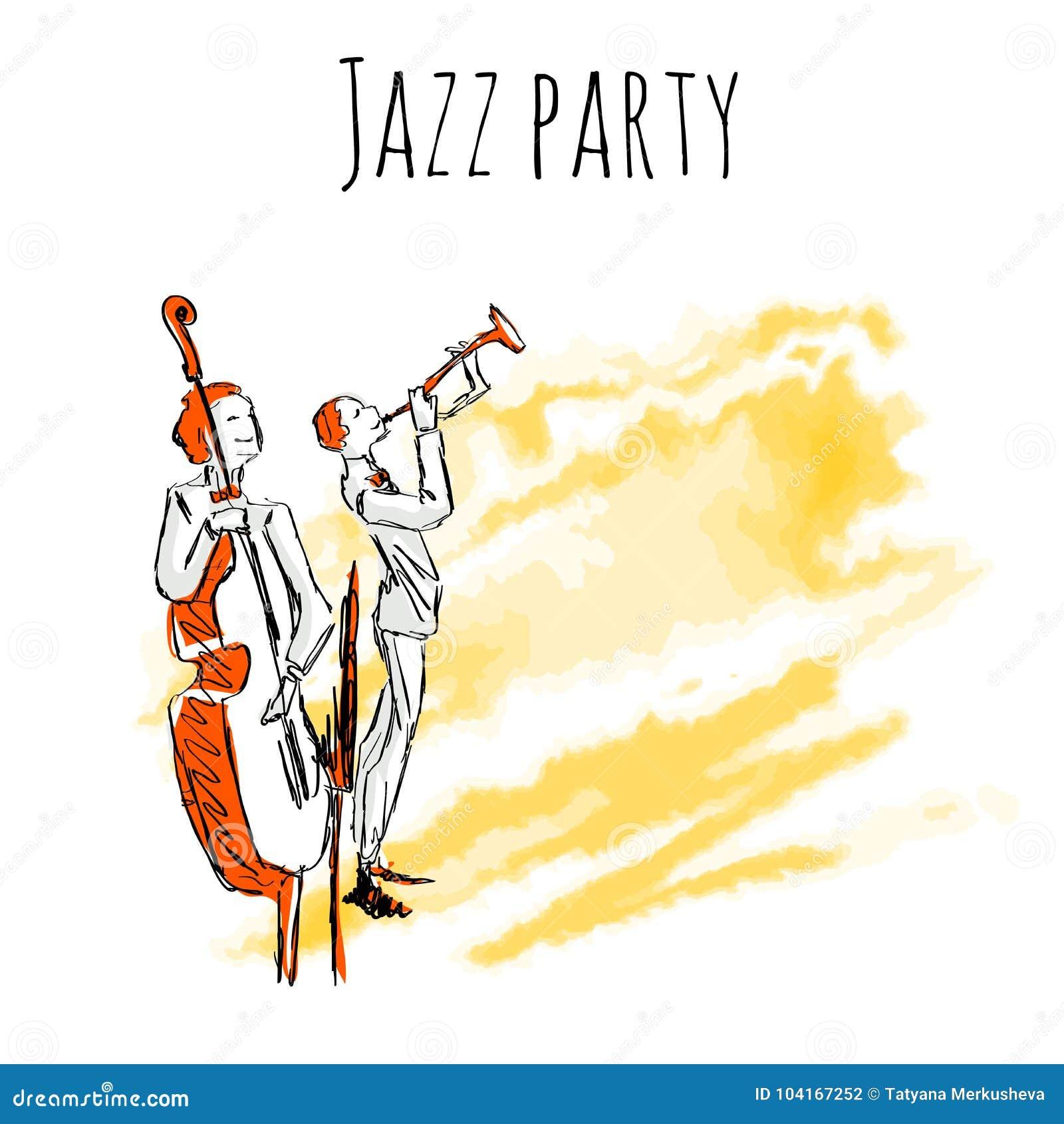 Los Músicos De Jazz Juegan La Trompeta Y El Contrabajo En Un Fondo ...