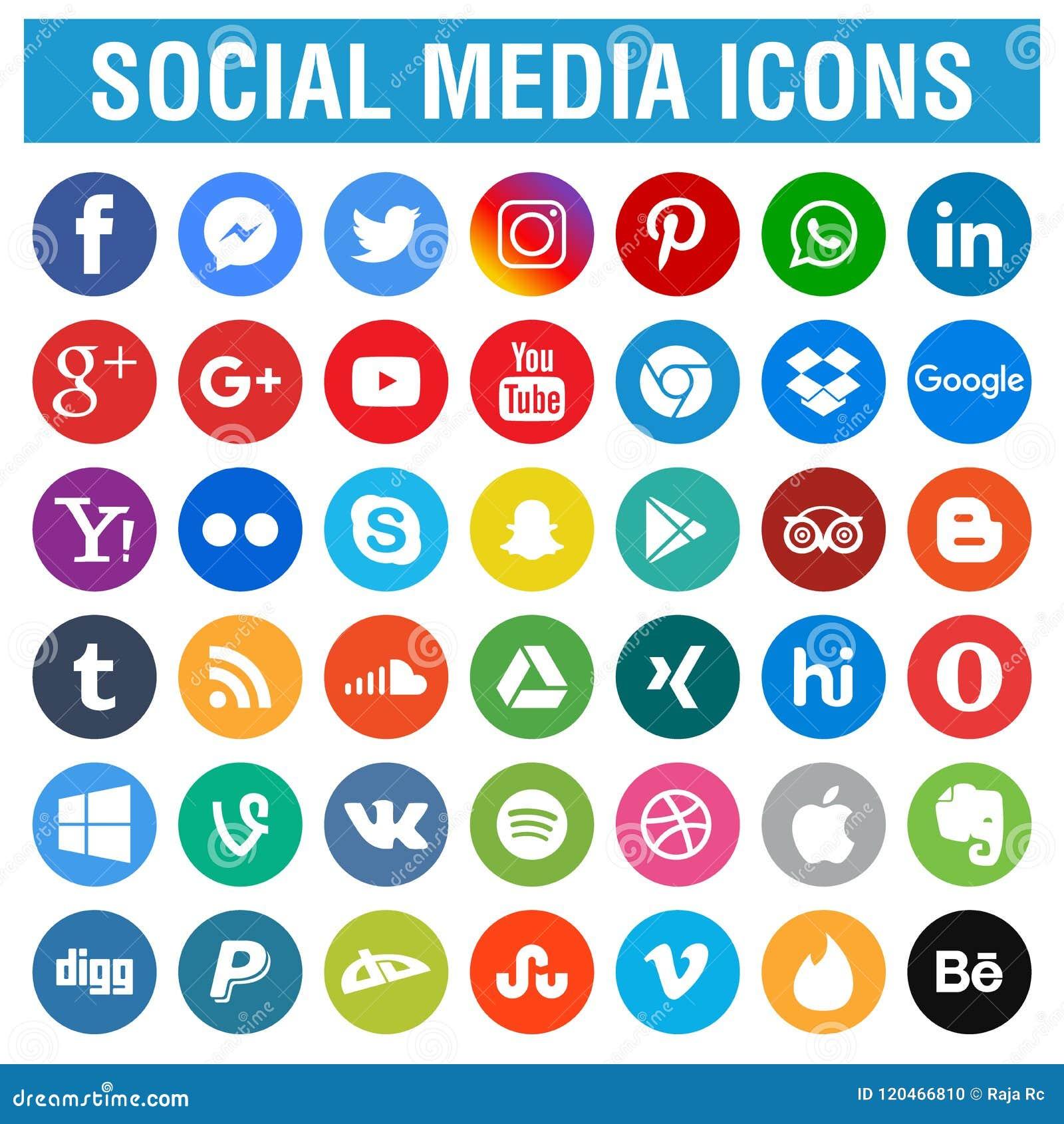 Los medios iconos sociales embalan alrededor