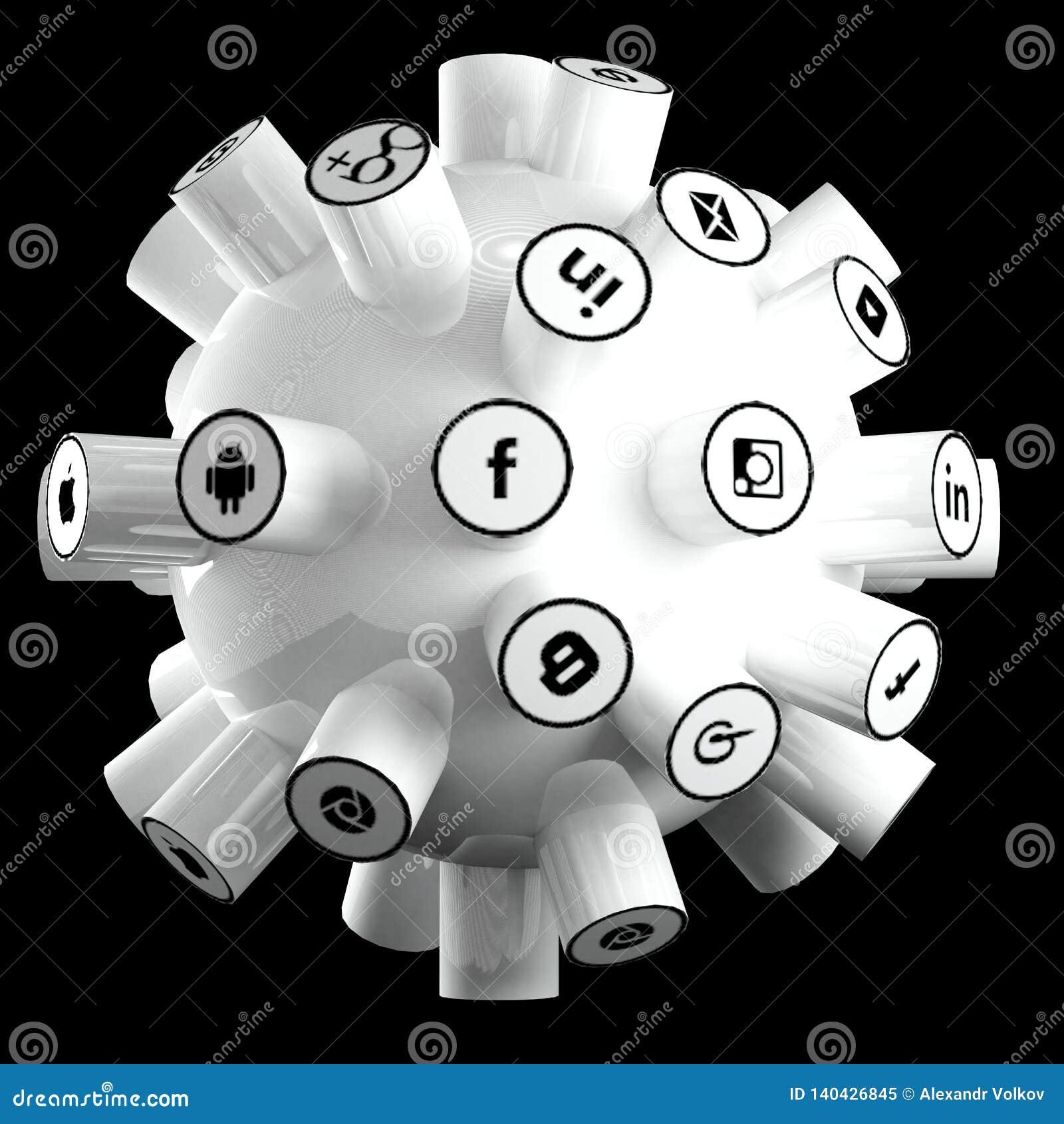 Los medios sociales, red social, Internet conectan el ejemplo 3d