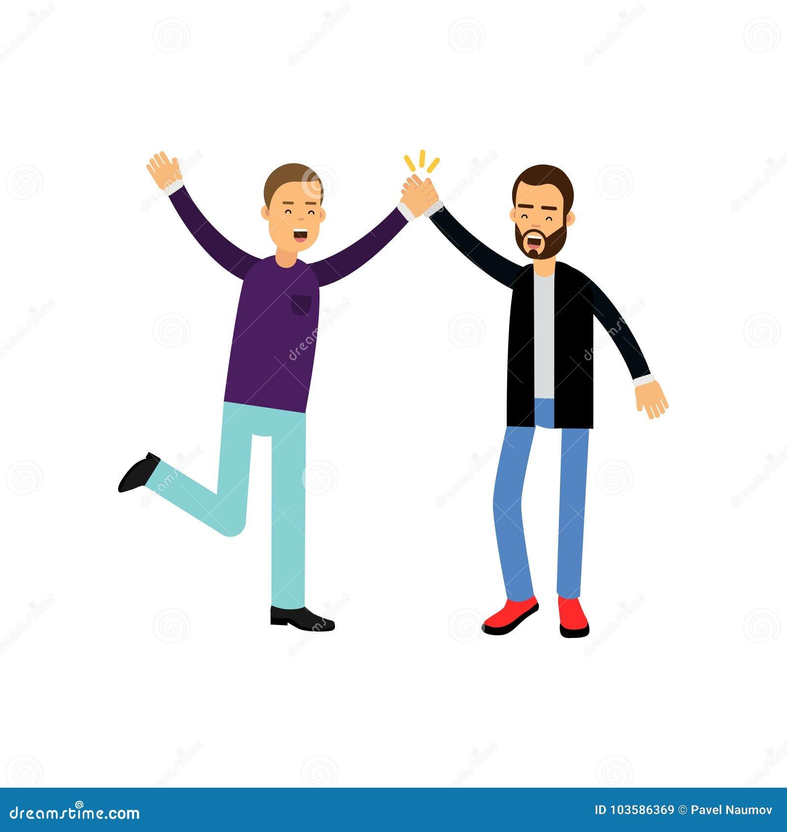 Los Mejores Amigos Masculinos Felices Dan Cinco El Uno Al Otro