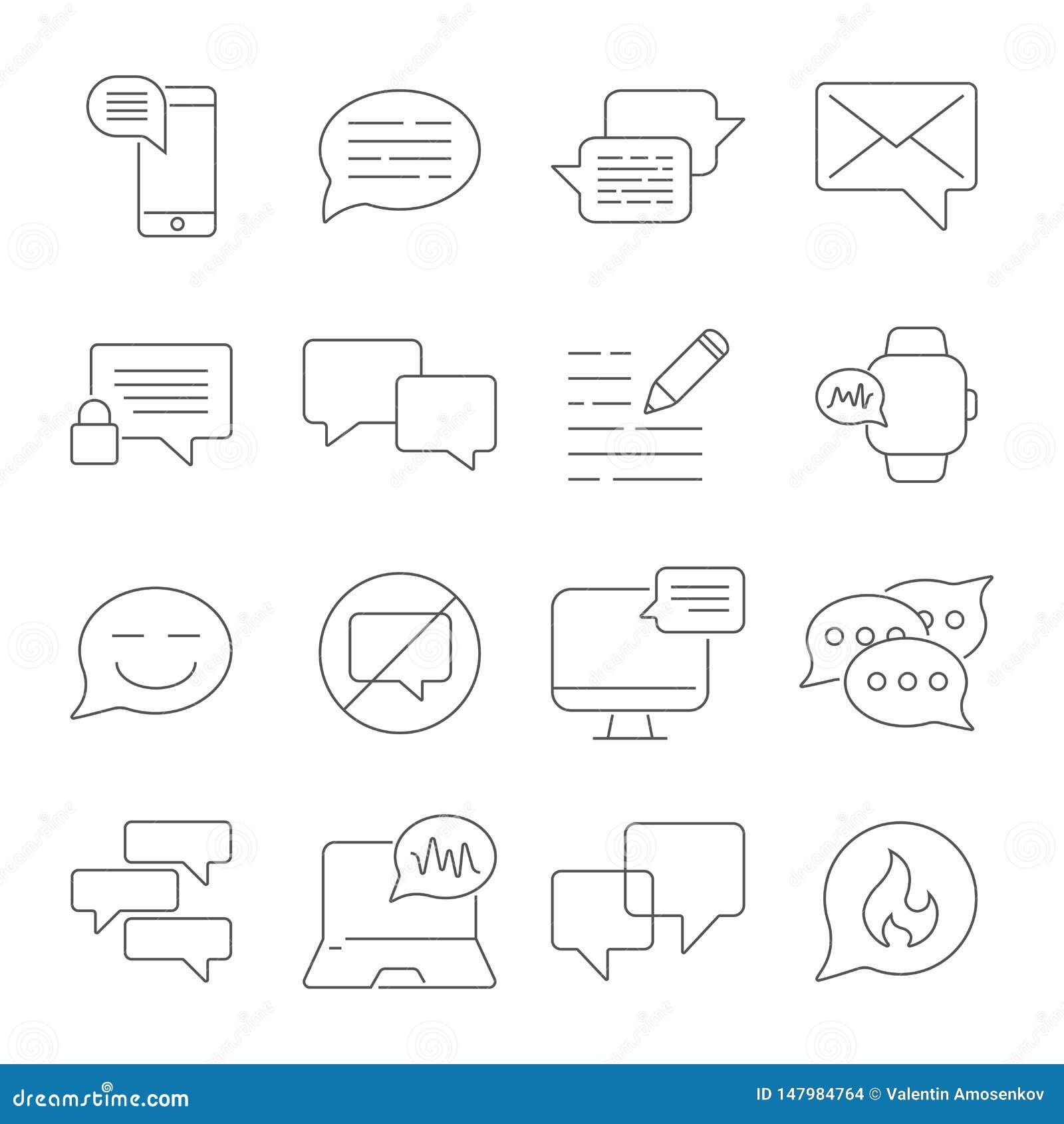 Los mensajes y las charlas alinean el sistema de los iconos Iconos lineares del diálogo y de la comunicación Las burbujas del dis