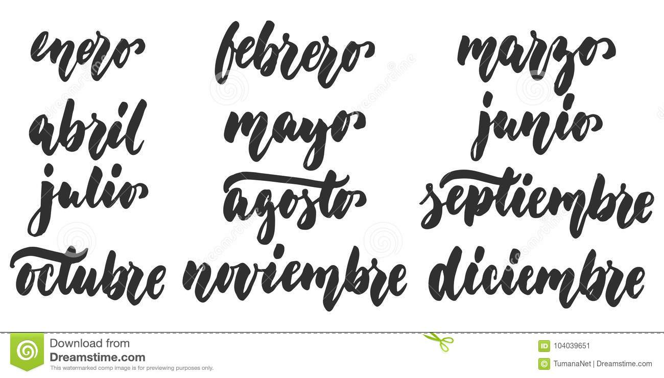 Los Meses Months In Spanish Hand Drawn Latin Lettering Quote