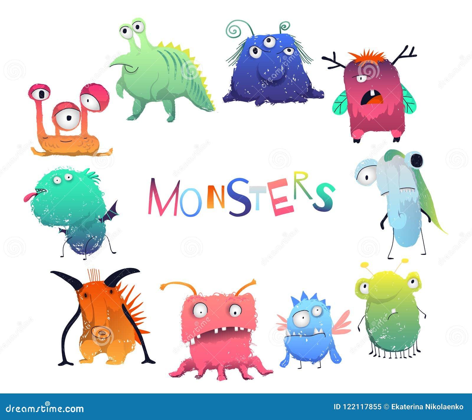 Los Monstruos Lindos Fijaron Personajes De Dibujos Animados En