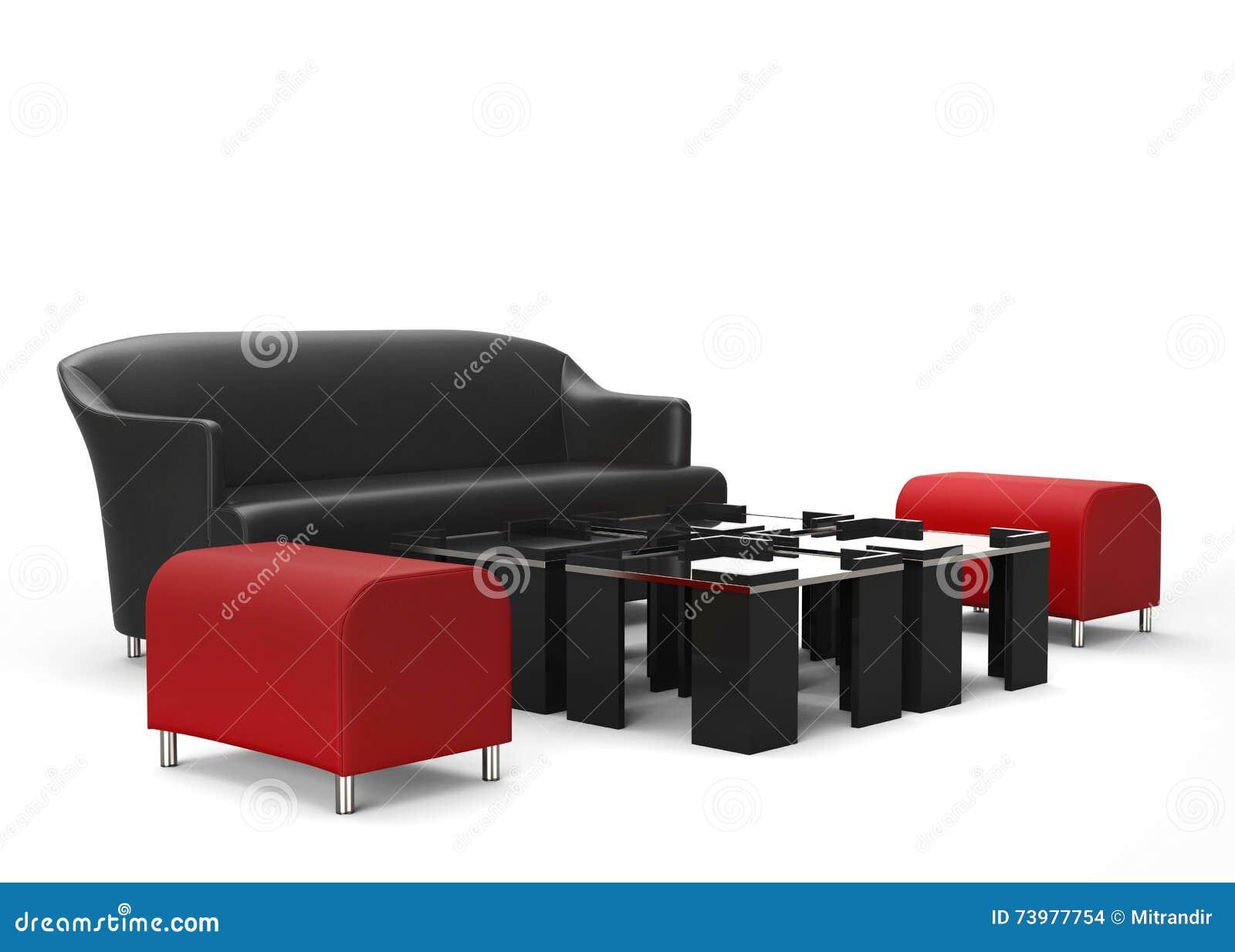 Los Muebles De La Sala De Estar Fijaron Los Otomanos Rojos En  # Muebles Otomanos