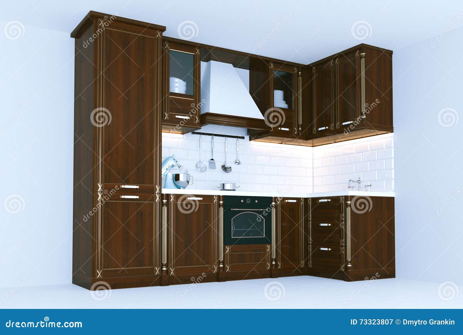 Los Muebles De Madera Clásicos 3d De La Cocina Rinden Imagen de ...