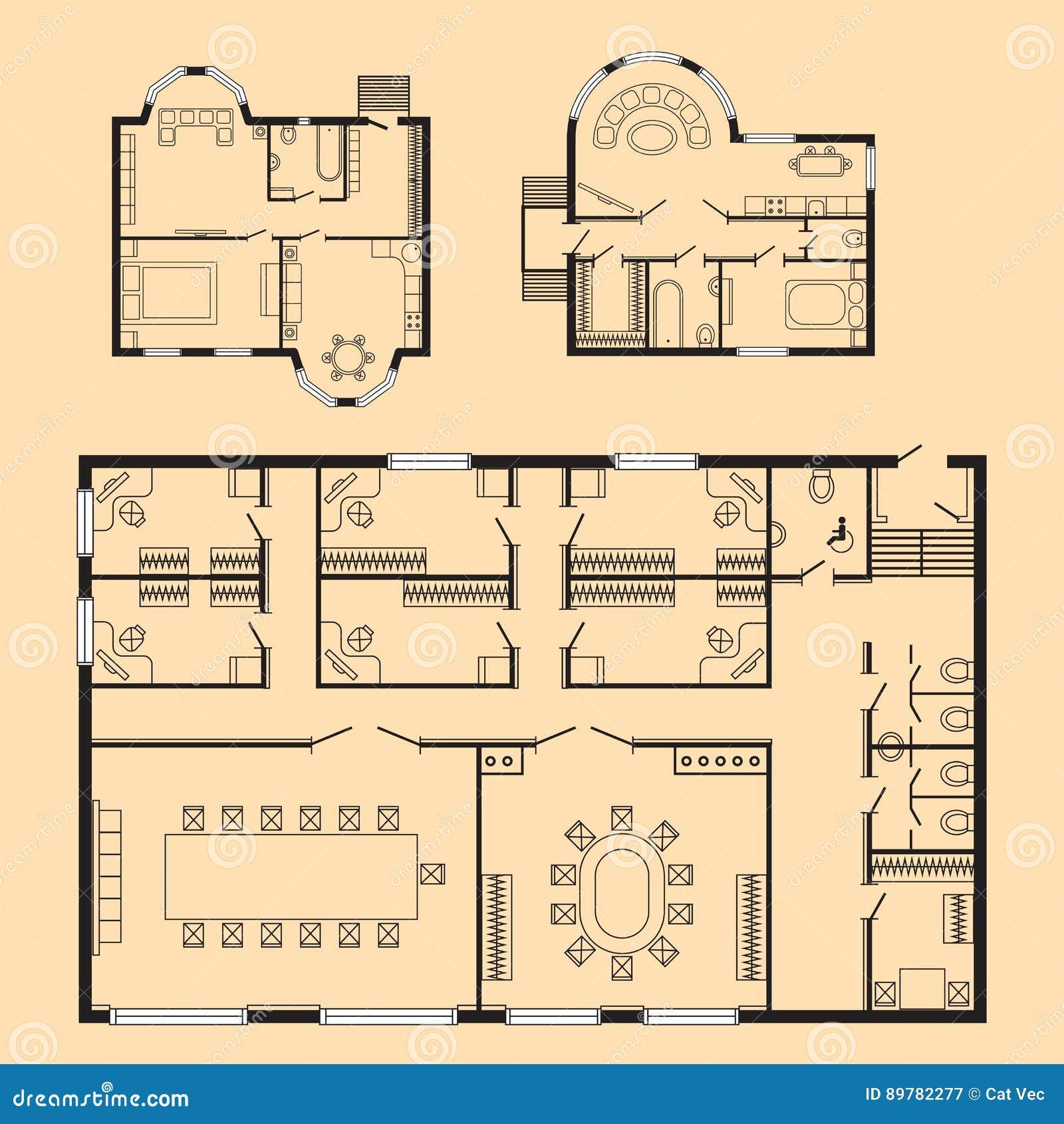 Los Muebles Del Plan Arquitect Nico De La Oficina Y El Dibujo De  # Muebles Dibujo Arquitectonico