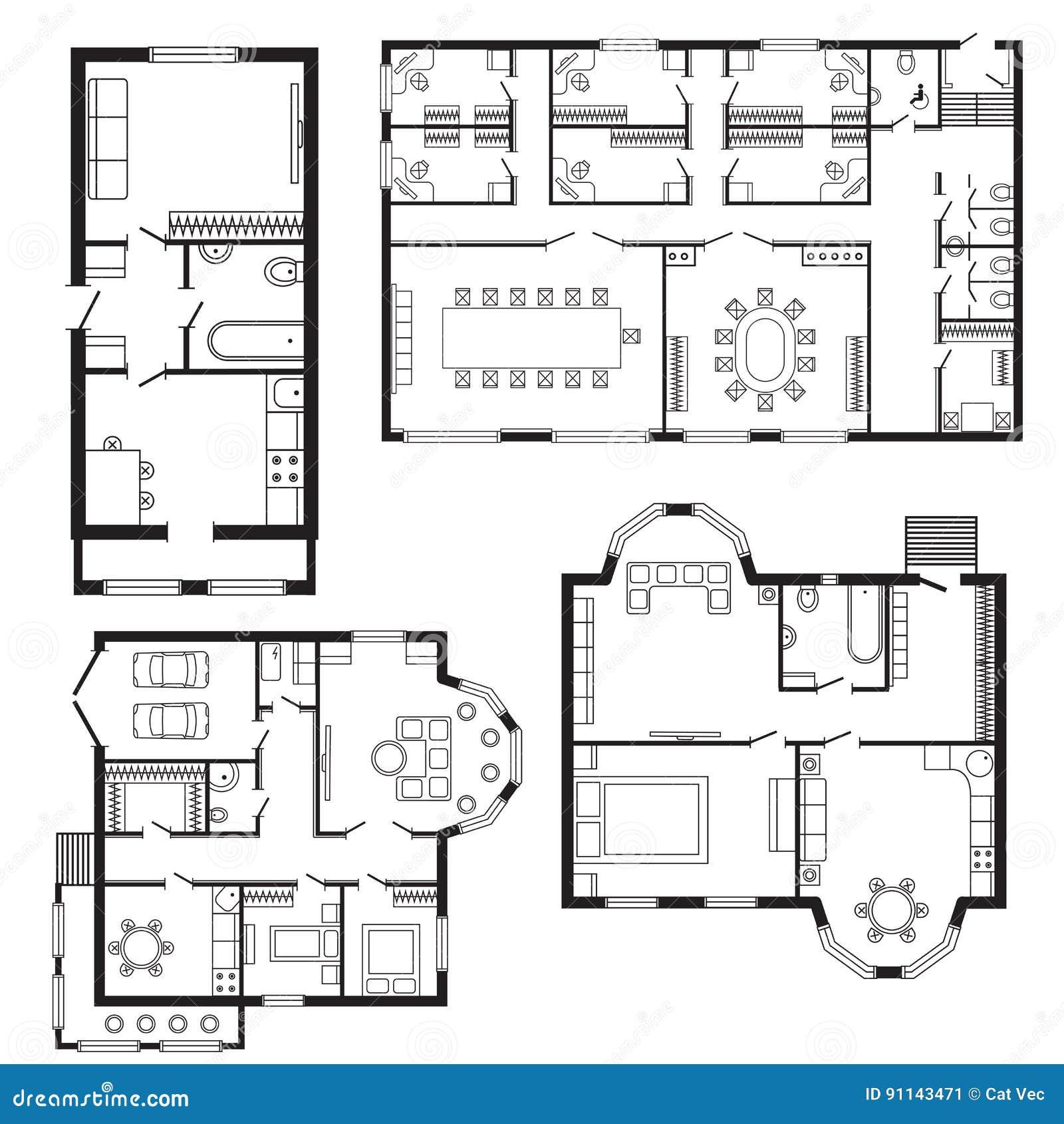 Home Design Engineer: Los Muebles Del Plan Arquitectónico De La Oficina Y El