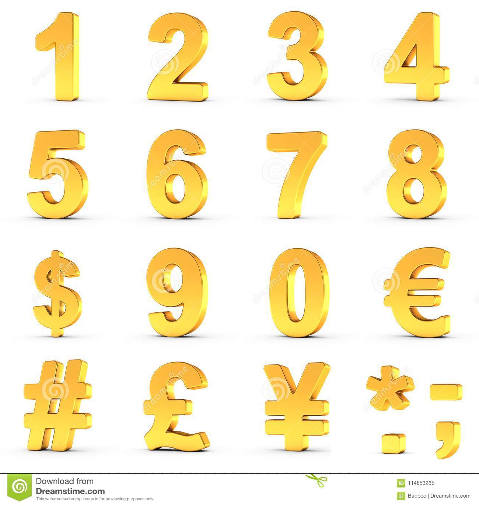 Los números fijaron en oro con la trayectoria de recortes para cada objeto