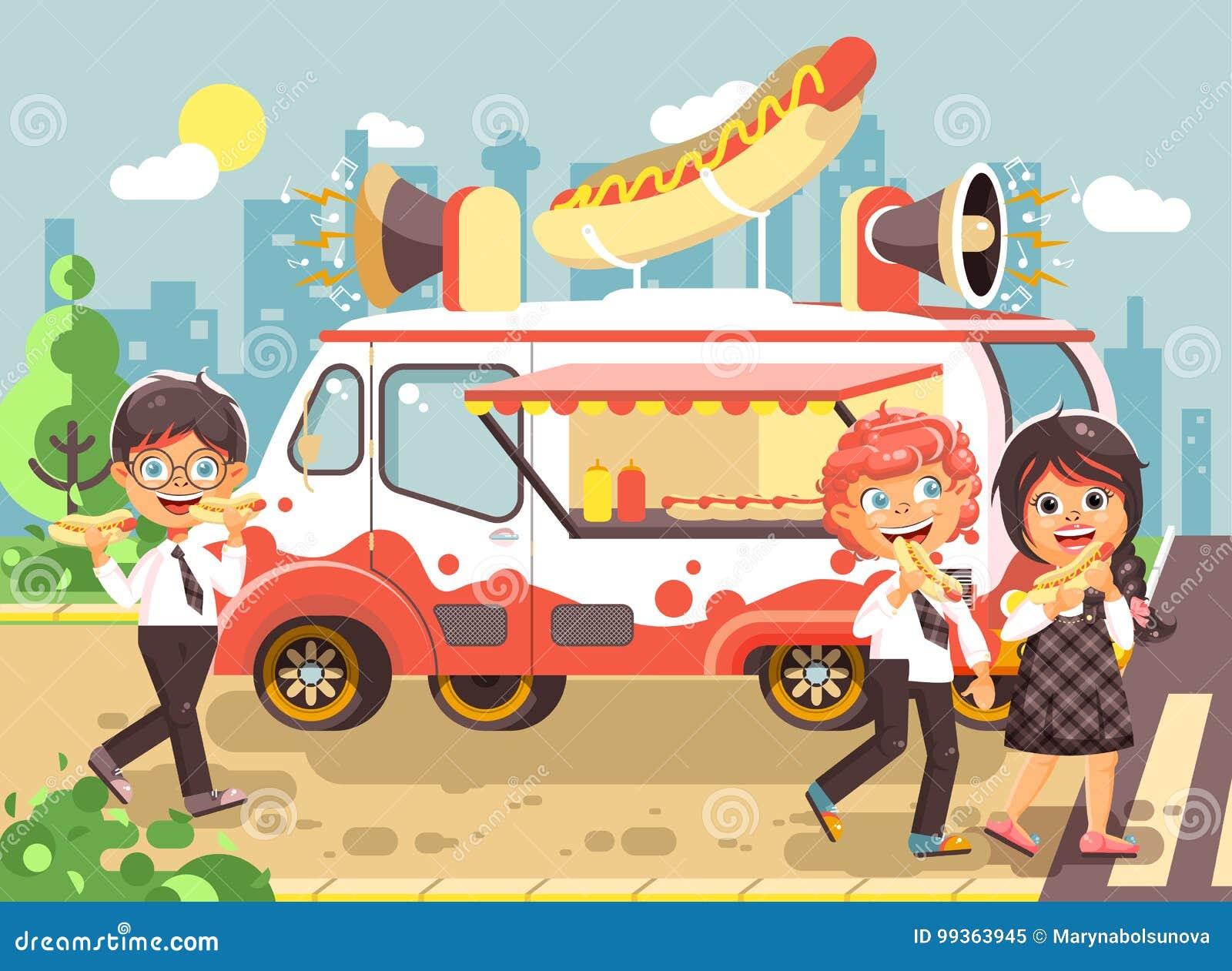 639c8eb52c4 Los niños, los alumnos, los colegiales y la colegiala comunes de los  personajes de dibujos animados del ejemplo del vector compran alimentos de  preparación ...