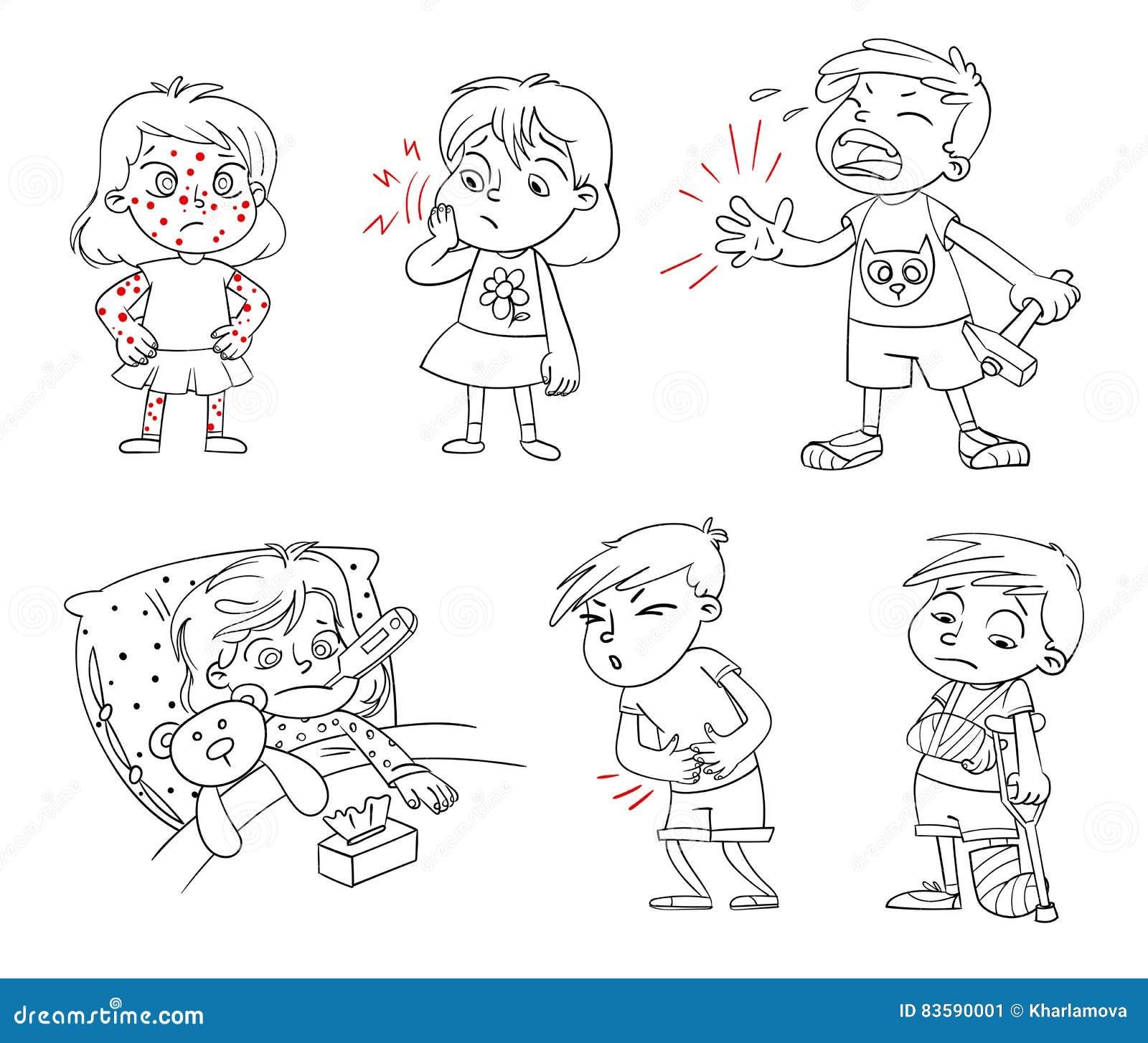 Los Niños Consiguen Enfermos Personaje De Dibujos Animados