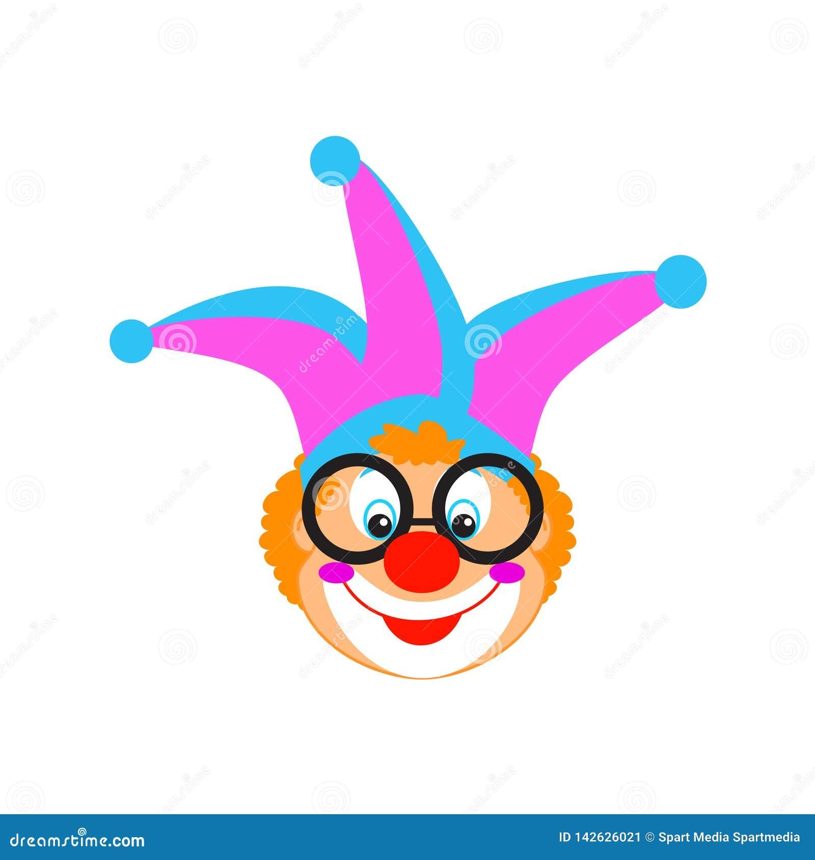 Los niños divertidos del cumpleaños del carnaval de la máscara del payaso van de fiesta el carácter del payaso aislado