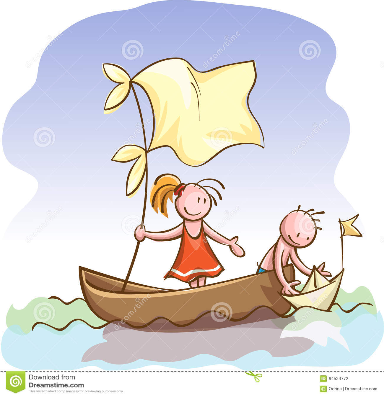 Los Niños En Barco Lanzan Una Nave Del Papel Del Juguete Ilustración
