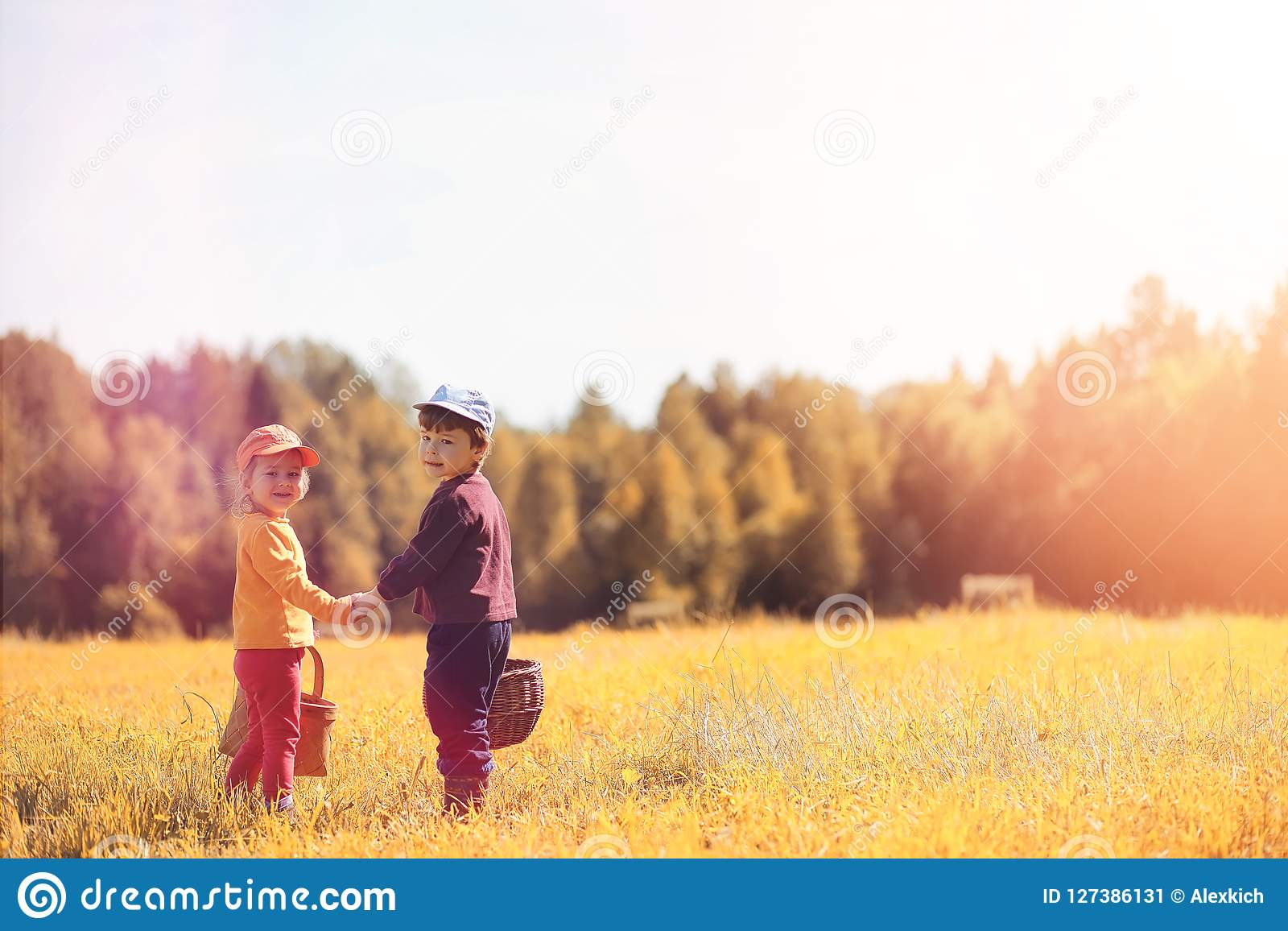 Los niños en el pueblo caminan a través del bosque y del gathe del otoño