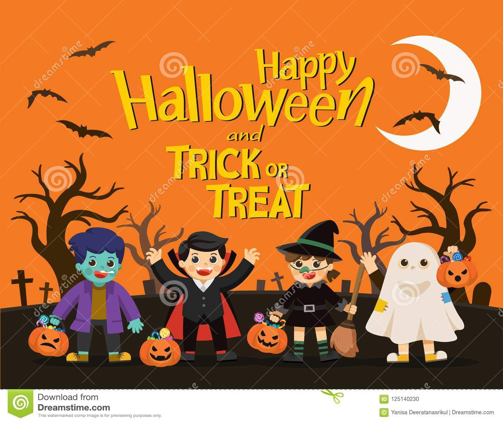 Los niños en el vestido de Halloween van al truco o a tratar