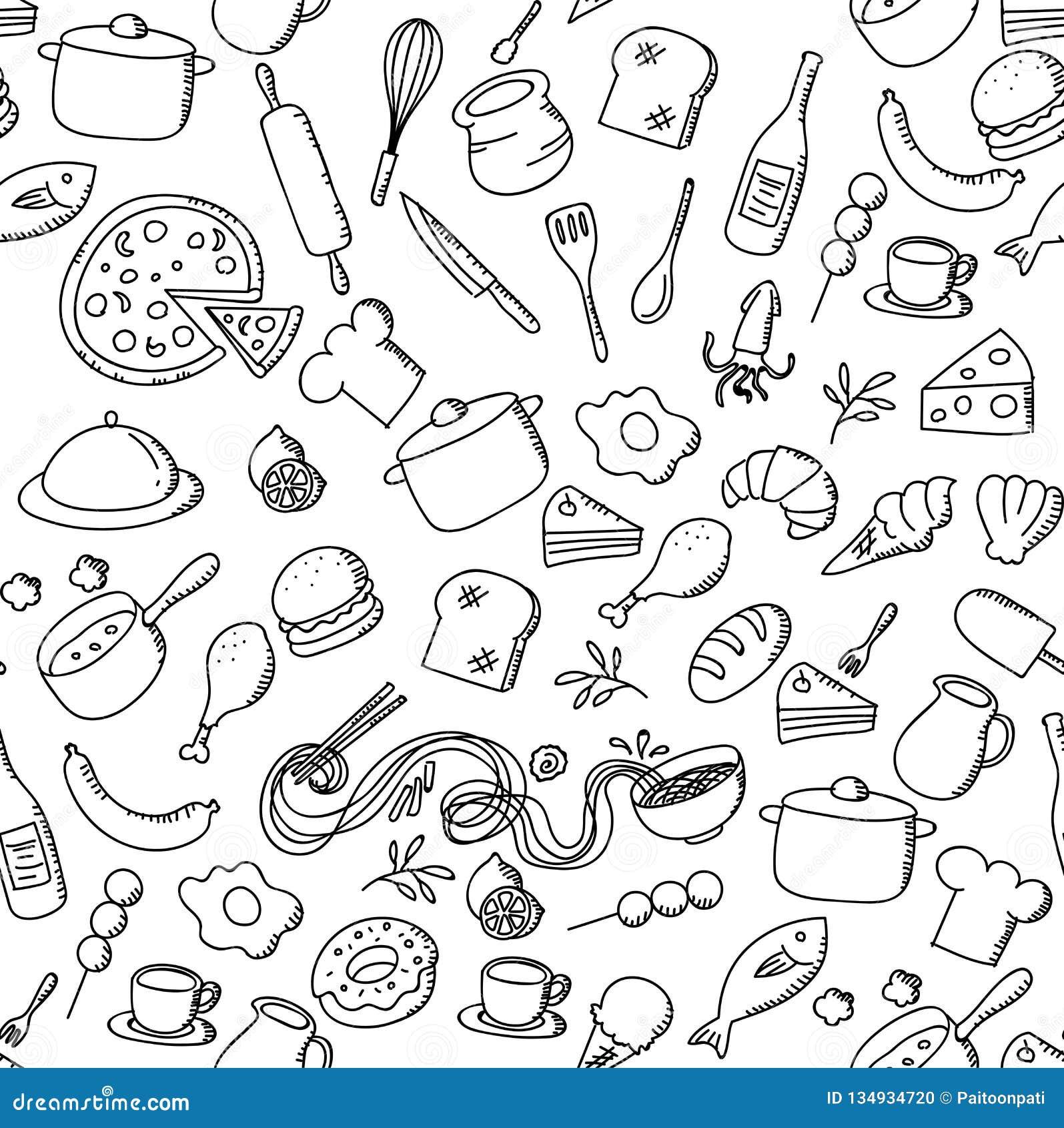 Los niños inconsútiles de la comida y del ingrediente del fondo del modelo dan el ejemplo del sistema del dibujo aislado