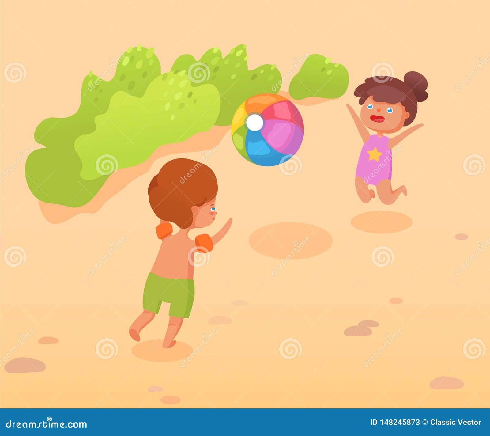 Los niños juegan en el ejemplo de color plano del vector de la playa