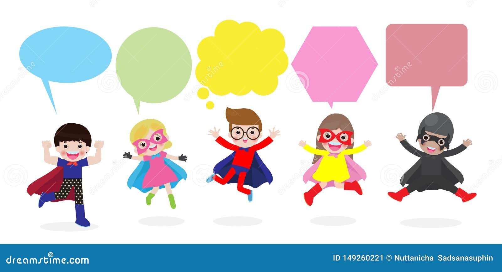 Los ni?os lindos del super h?roe con las burbujas del discurso, fijaron de ni?o del super h?roe con las burbujas del discurso ais