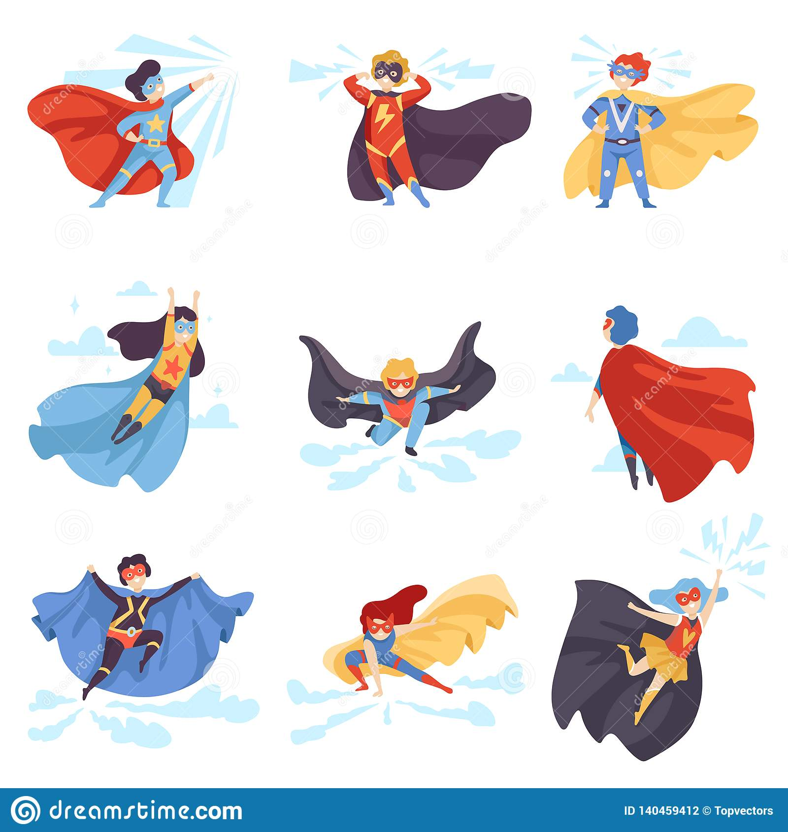 Los niños lindos que llevaban los trajes del super héroe fijaron, los caracteres estupendos de los niños en máscaras y ejemplo de