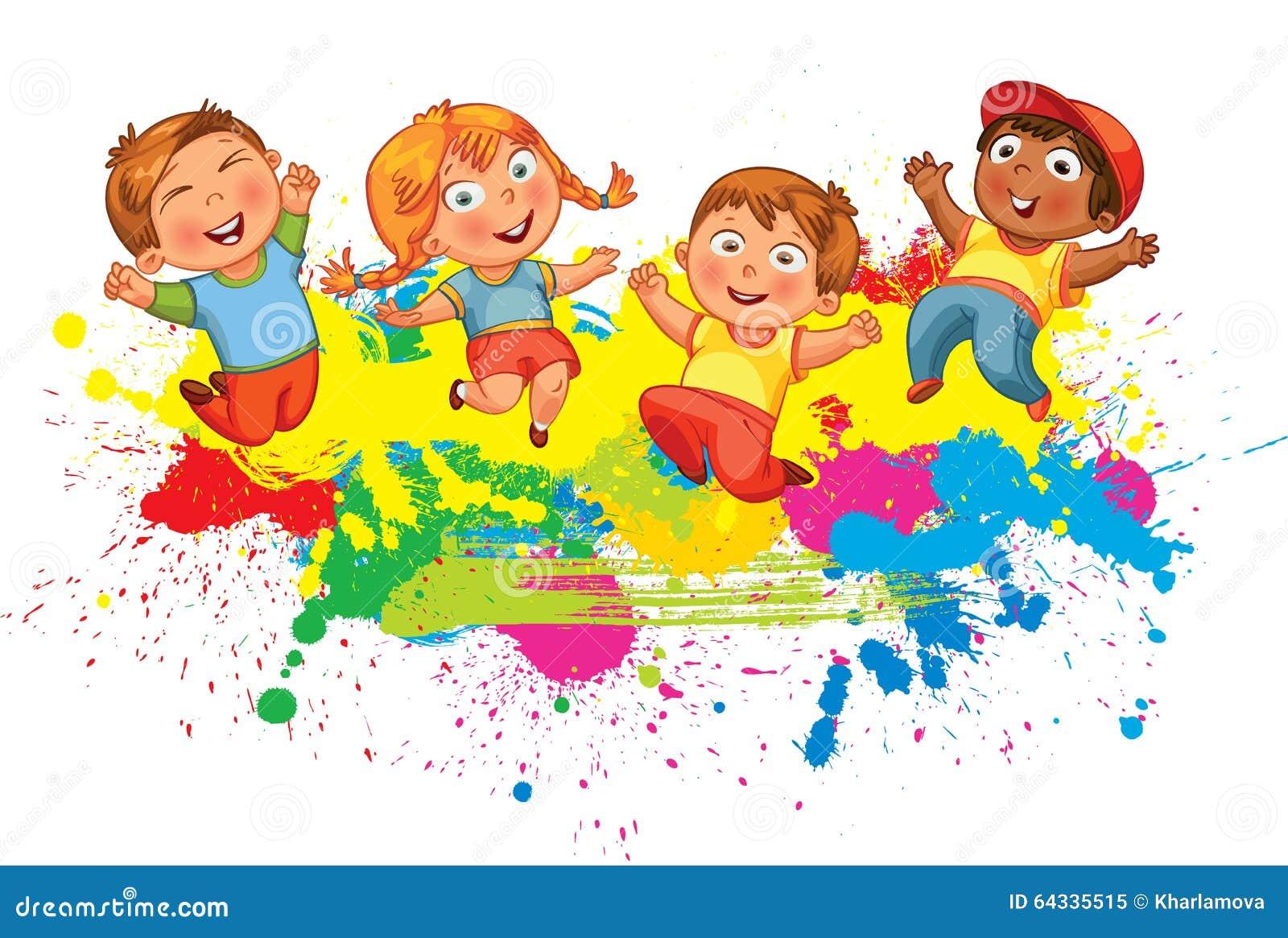 Los Niños Saltan Para La Alegría Ilustración Del Vector