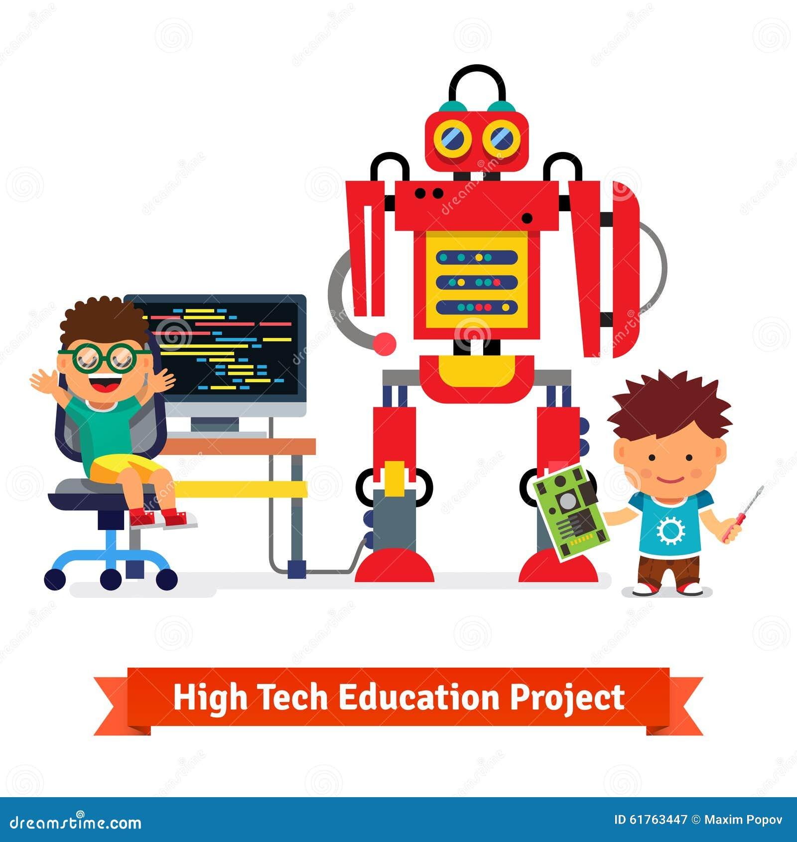 Los niños son de fabricación y programados del robot enorme