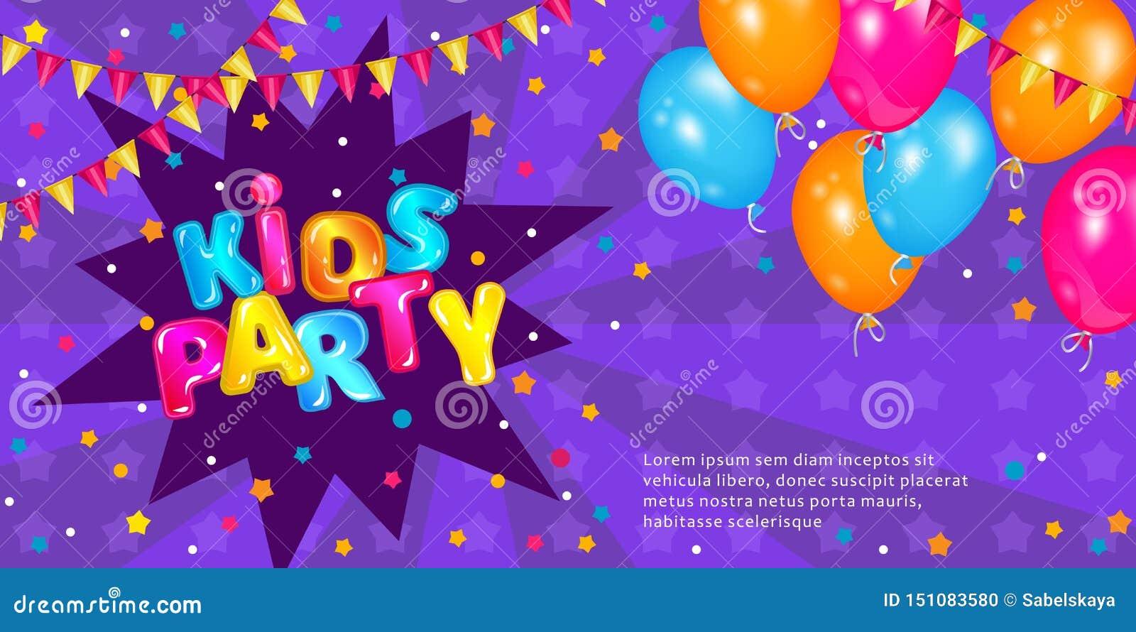 Los niños van de fiesta - diseño púrpura de la bandera de la invitación con la fuente de la diversión