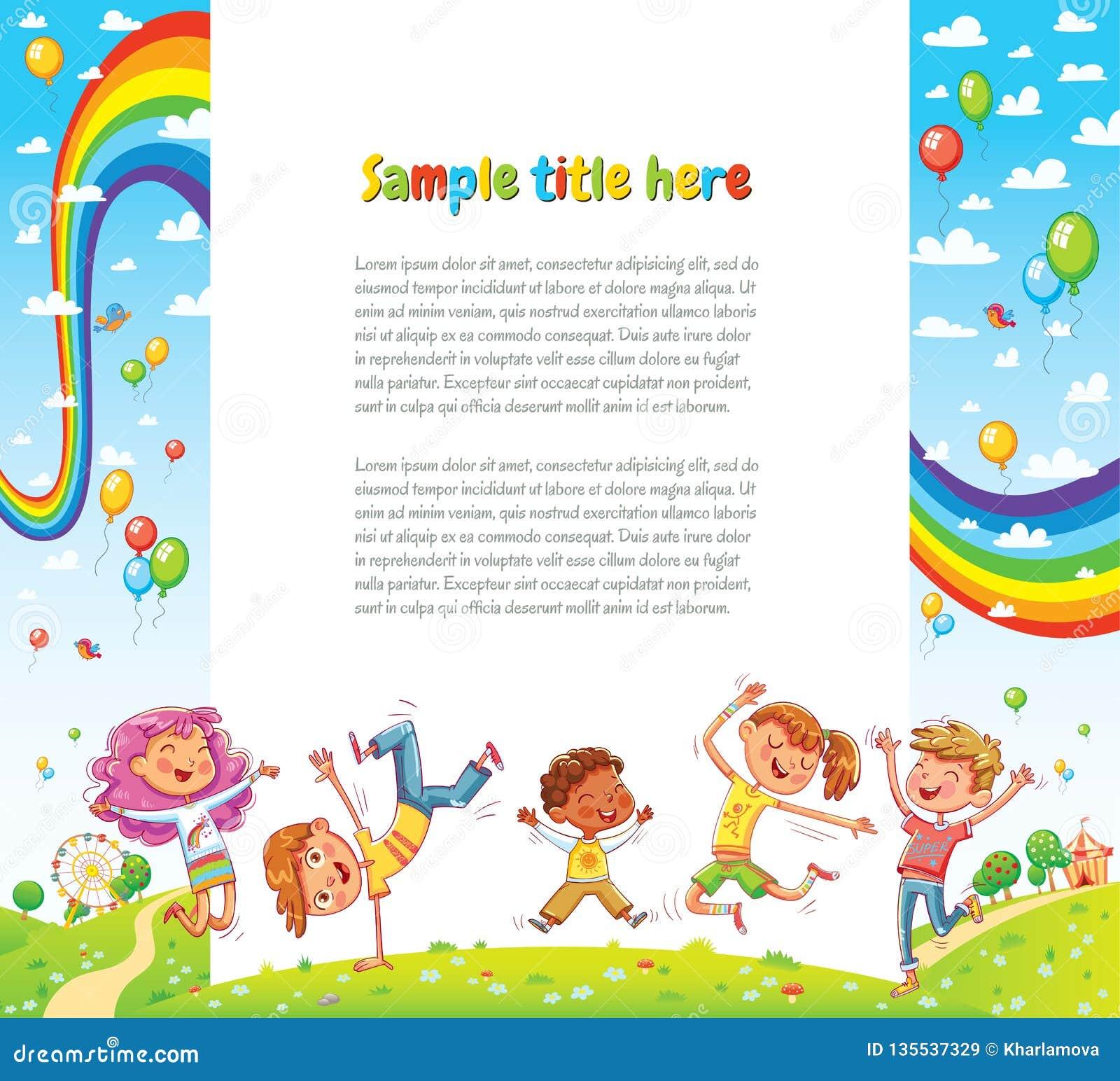 Los niños van de fiesta para el diseño de la página web